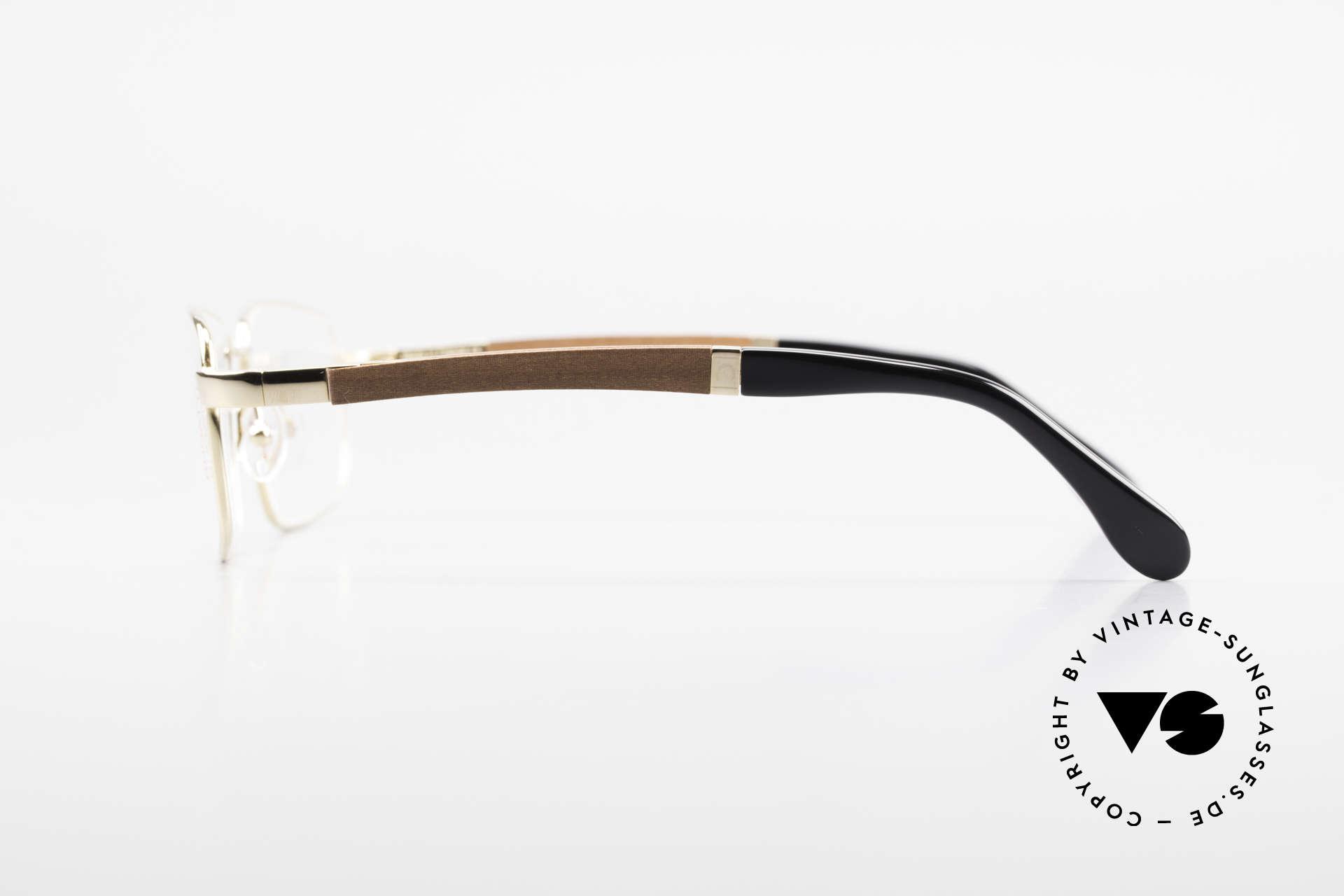 Bugatti 548 Padouk Edelholz Brille Gold L, flexible Federscharniere für eine optimale Passform, Passend für Herren
