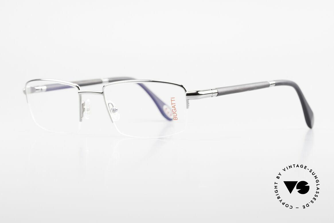 Bugatti 535 Naturhorn Brille Palladium, Bügel sind aus echtem dunklen Horn (Naturmaterial), Passend für Herren