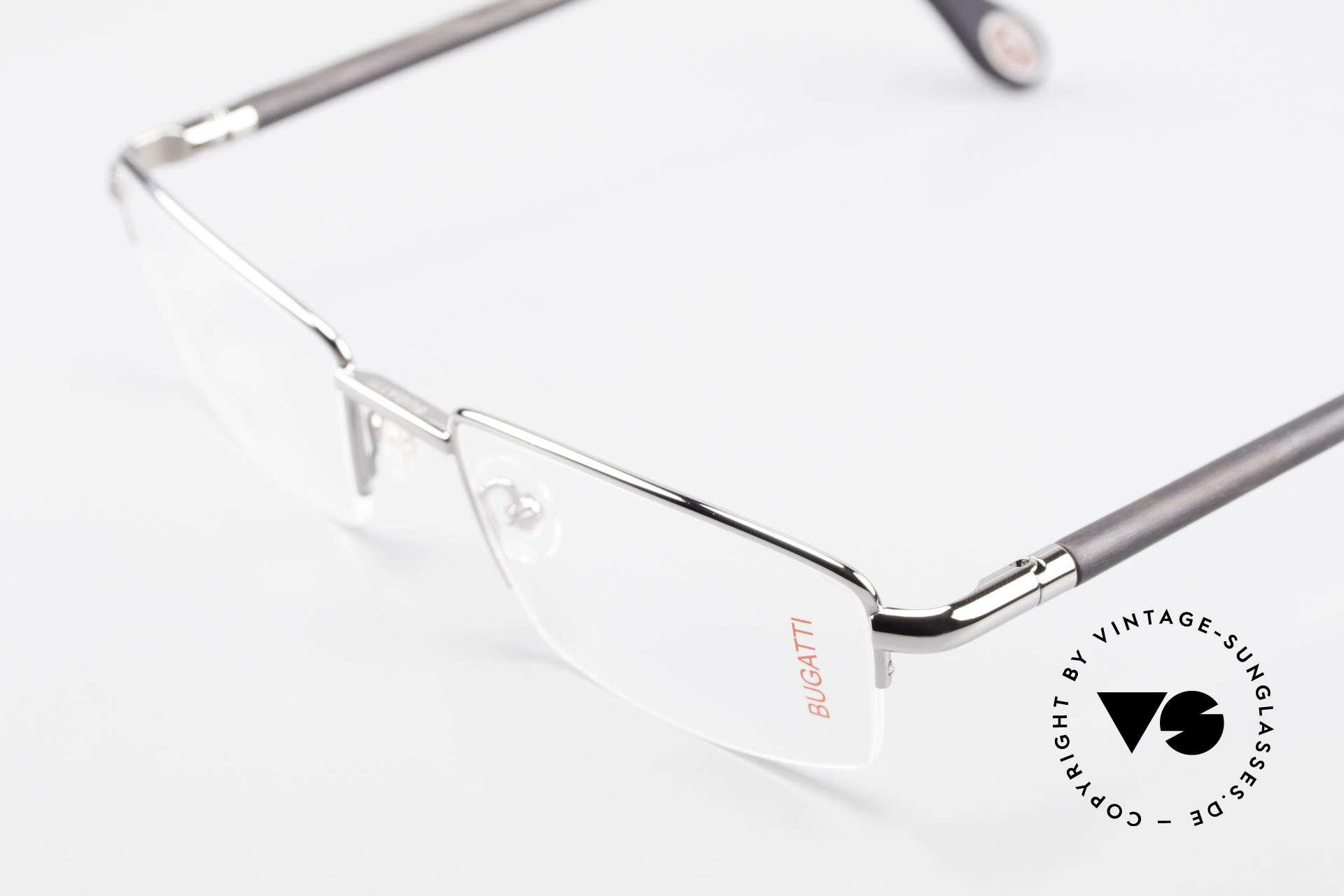 Bugatti 535 Naturhorn Brille Palladium, flexible Federscharniere für eine optimale Passform, Passend für Herren