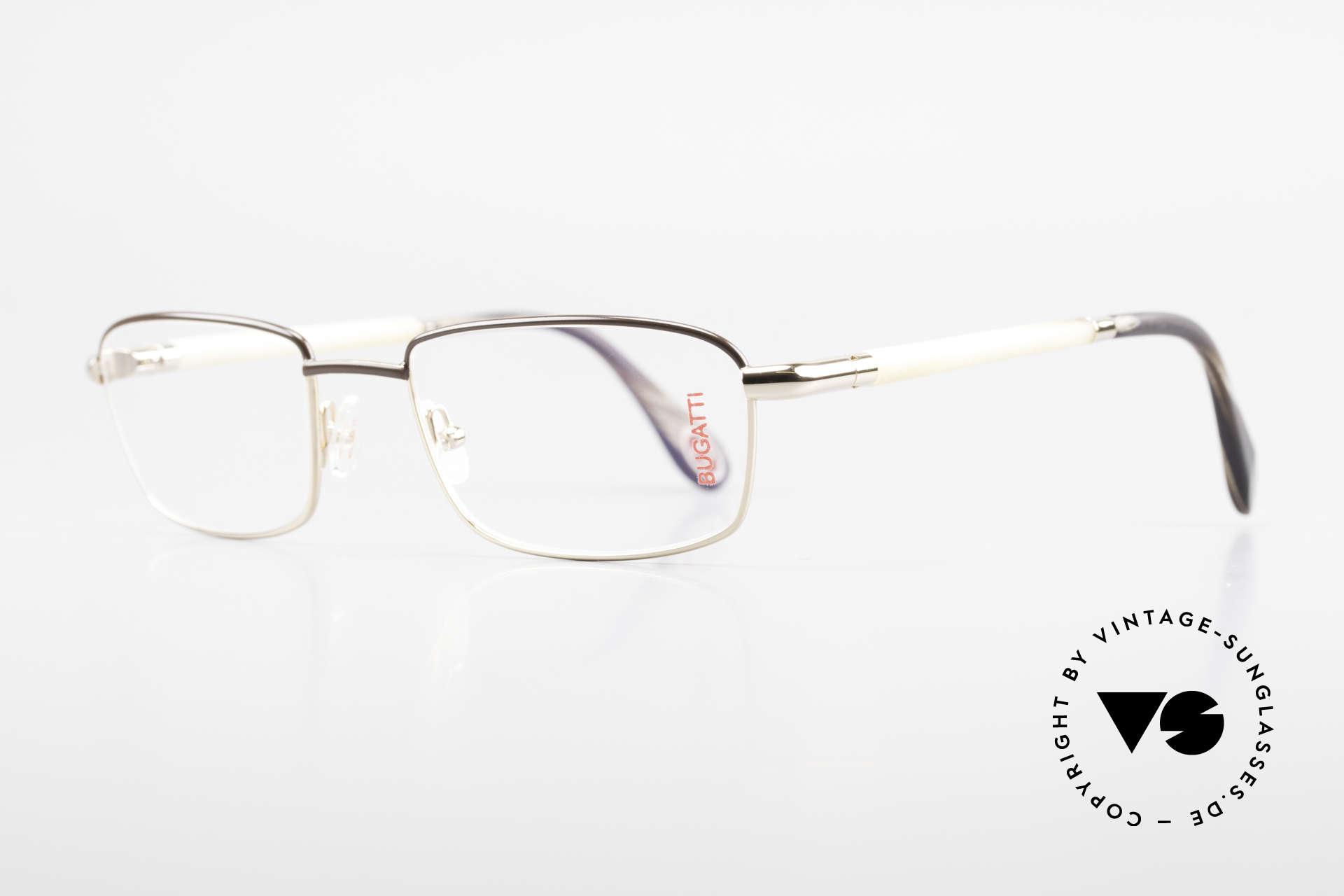 Bugatti 536 Naturhorn Brille Vergoldet, Bügel sind aus echtem hellen Horn (Naturmaterial), Passend für Herren