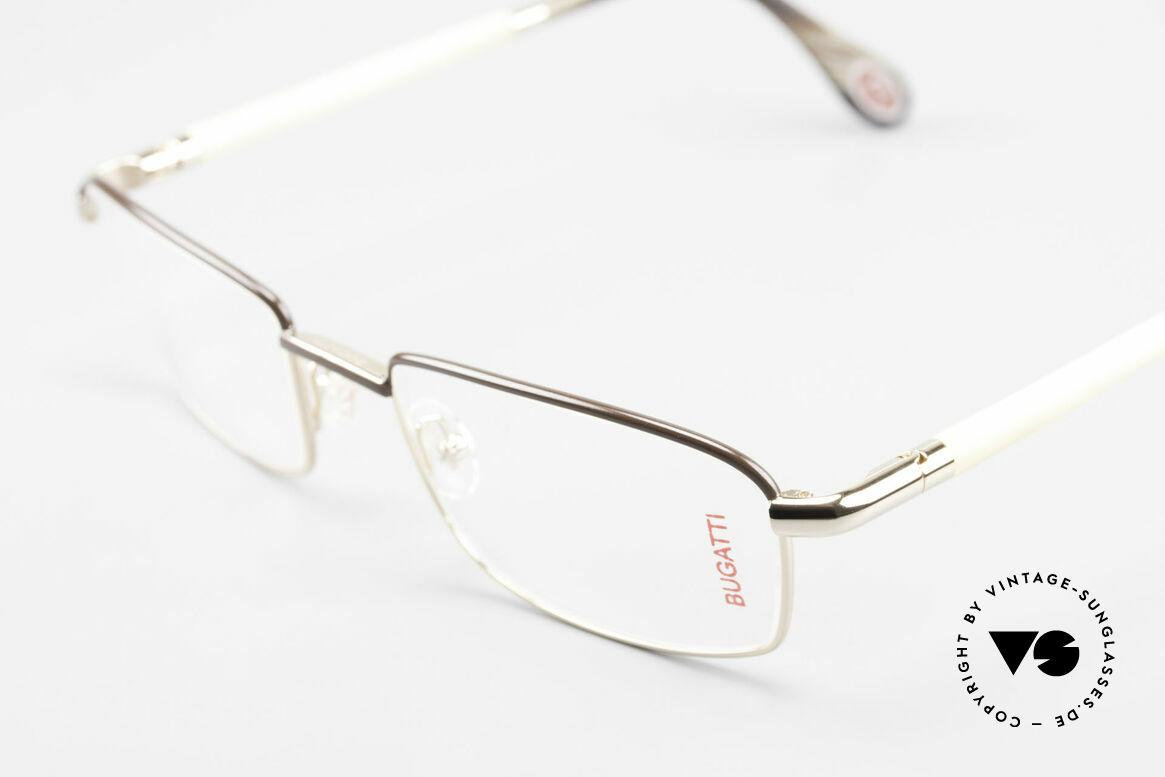 Bugatti 536 Naturhorn Brille Vergoldet, flexible Federscharniere für eine optimale Passform, Passend für Herren