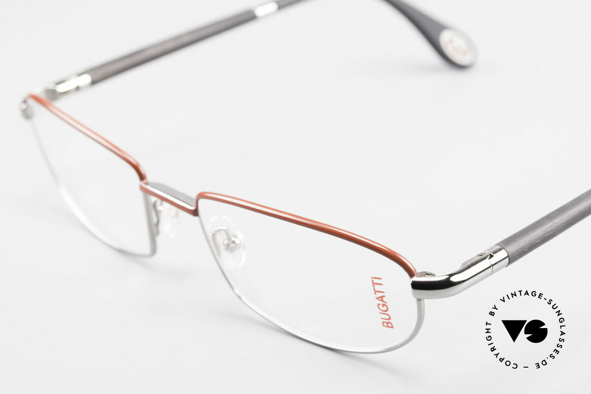 Bugatti 541 Naturhorn Brille Palladium, flexible Federscharniere für eine optimale Passform, Passend für Herren