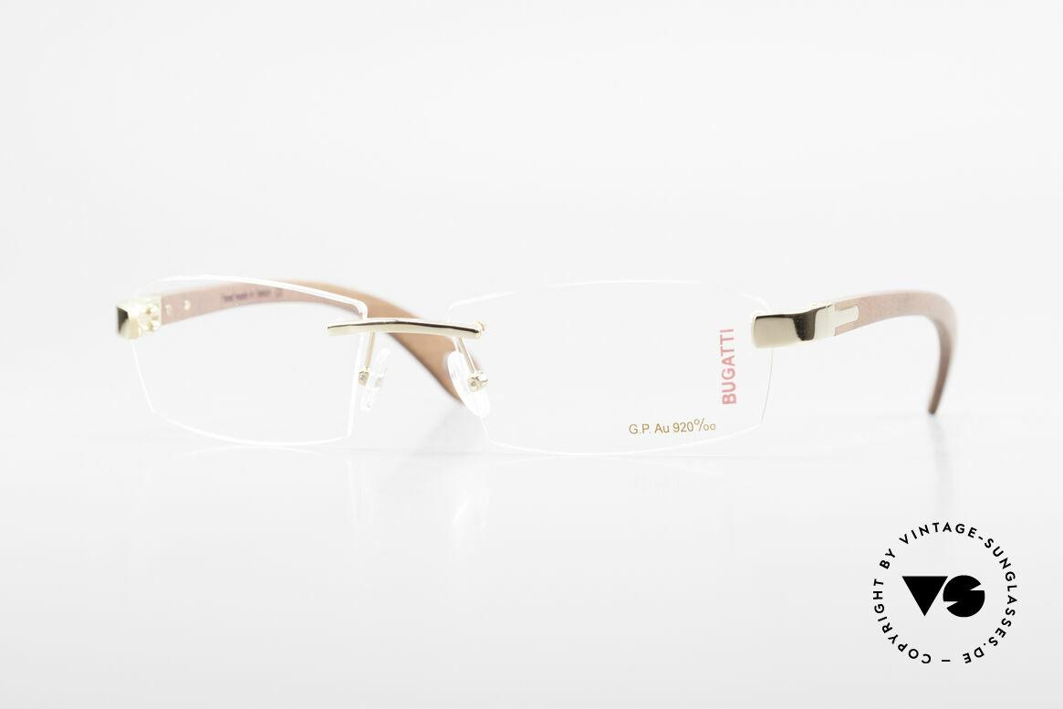 Bugatti 517 Kotibé Tropenholz Gold Brille, randlose Bugatti Luxus-Brille; unglaublich veredelt!, Passend für Herren