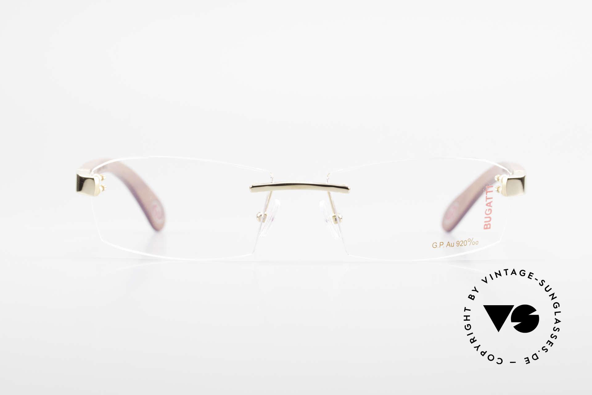 Bugatti 517 Kotibé Tropenholz Gold Brille, Bügel sind aus kostbarem Kotibé Edelholz aus Gabun, Passend für Herren