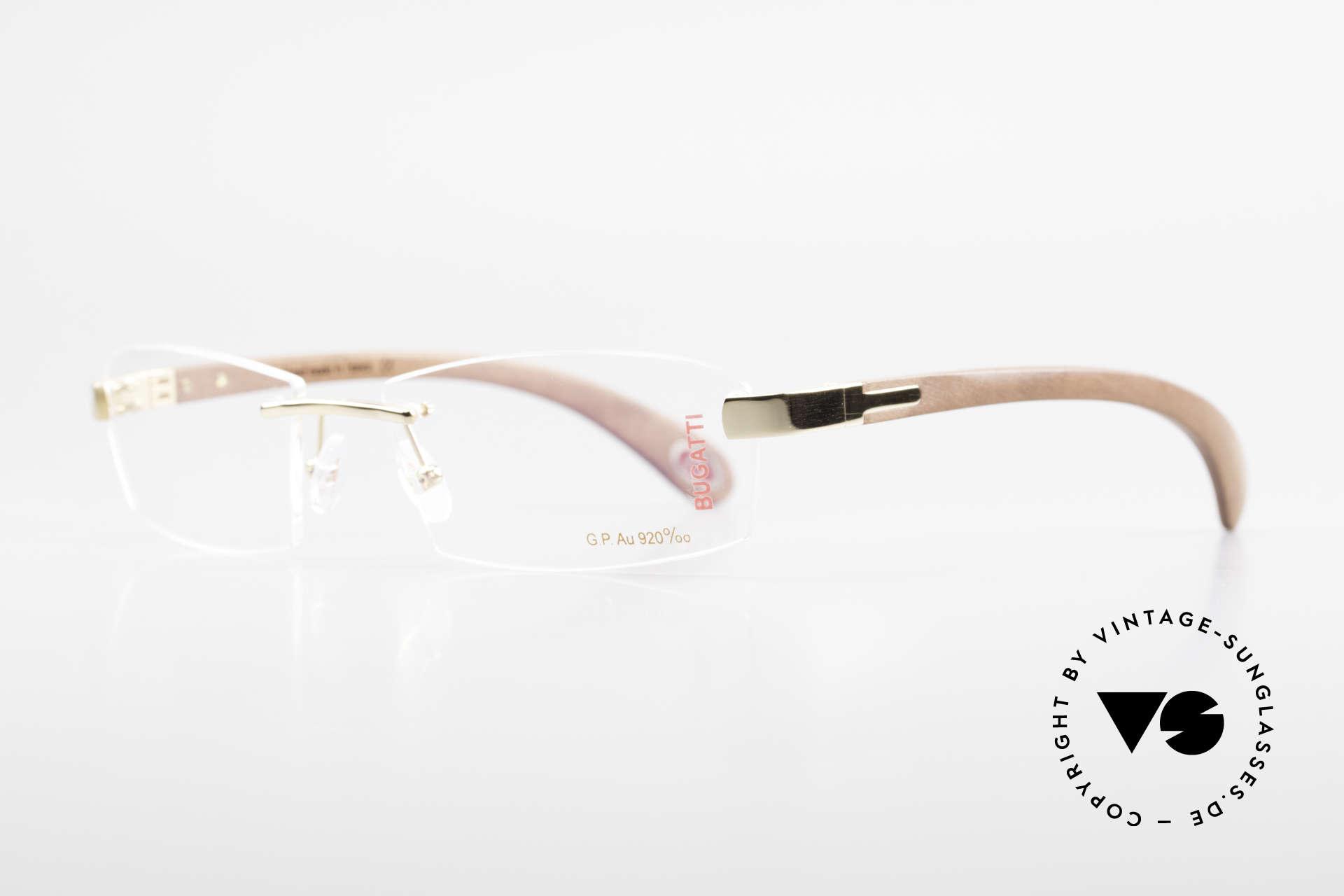 Bugatti 517 Kotibé Tropenholz Gold Brille, dieses mahagonifarbene Holz ist sehr leicht & robust, Passend für Herren