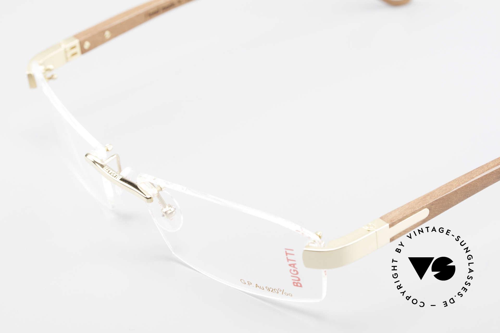Bugatti 517 Kotibé Tropenholz Gold Brille, absolutes Spitzen-Produkt in Design & Verarbeitung, Passend für Herren
