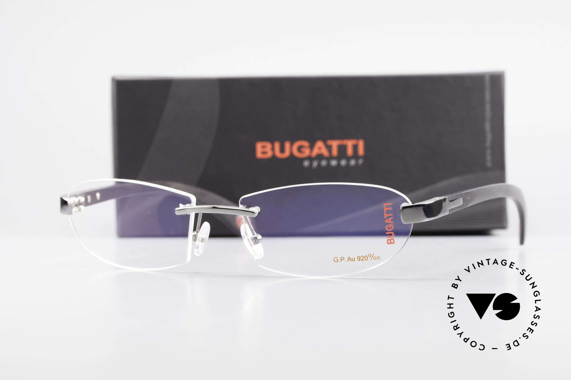 Bugatti 518 Ebenholz Fassung Graugold, Größe: large, Passend für Herren