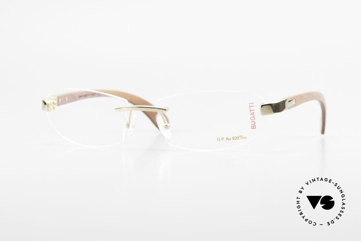 Bugatti 518 Kotibé Edelholz Gold Brille, randlose Bugatti Luxus-Brille; unglaublich veredelt!, Passend für Herren