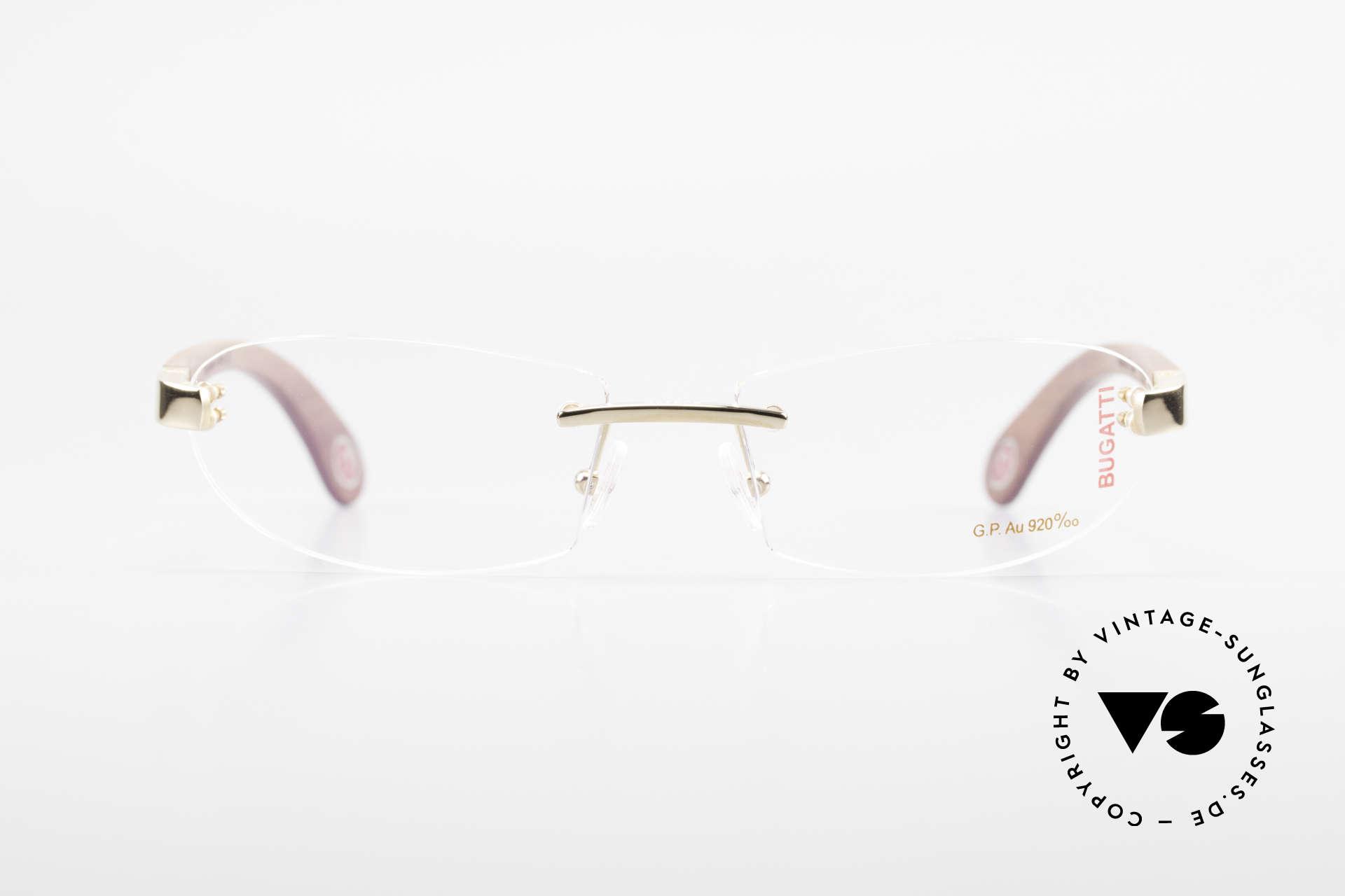 Bugatti 518 Kotibé Edelholz Gold Brille, Bügel sind aus kostbarem Kotibé Edelholz aus Gabun, Passend für Herren
