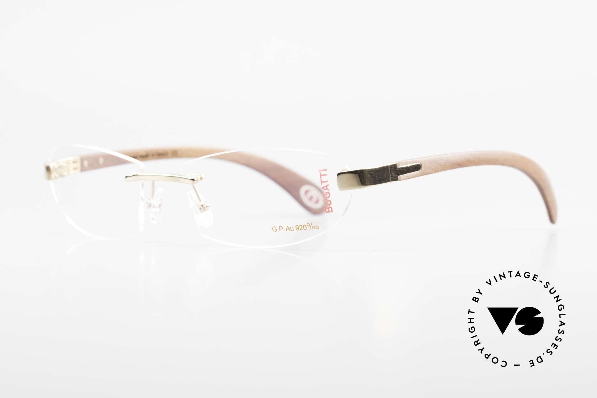 Bugatti 518 Kotibé Edelholz Gold Brille, dieses mahagonifarbene Holz ist sehr leicht & robust, Passend für Herren
