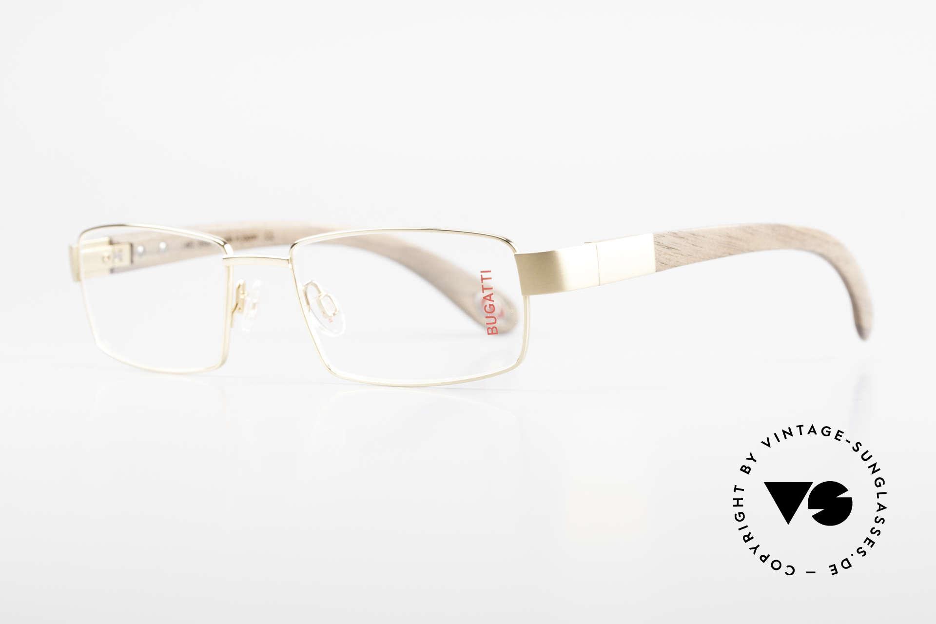 Bugatti 531 Walnussholz Titanbrille Gold, Bügel sind aus echtem Walnussholz (Naturmaterial), Passend für Herren