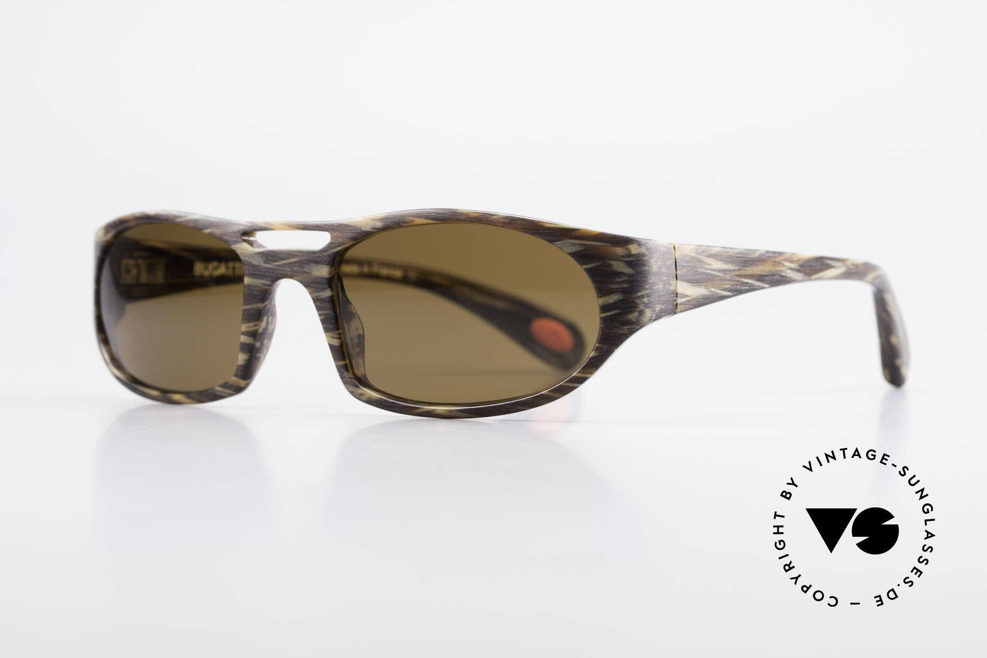 Bugatti 220 Designer Luxus Sonnenbrille, optimaler Tragekomfort dank Feder-Scharnieren, Passend für Herren