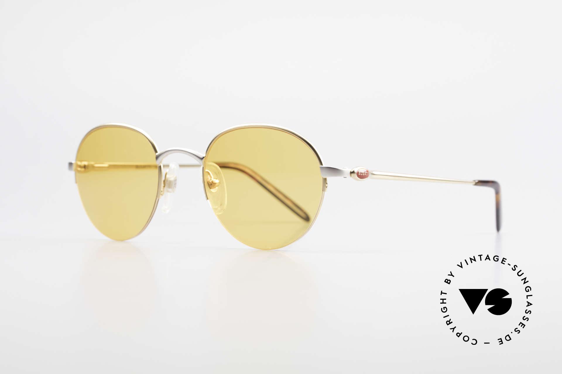 Bugatti 26658 Panto Designer Sonnenbrille, vergoldet/titanium mit flexiblen Federgelenken, Passend für Herren