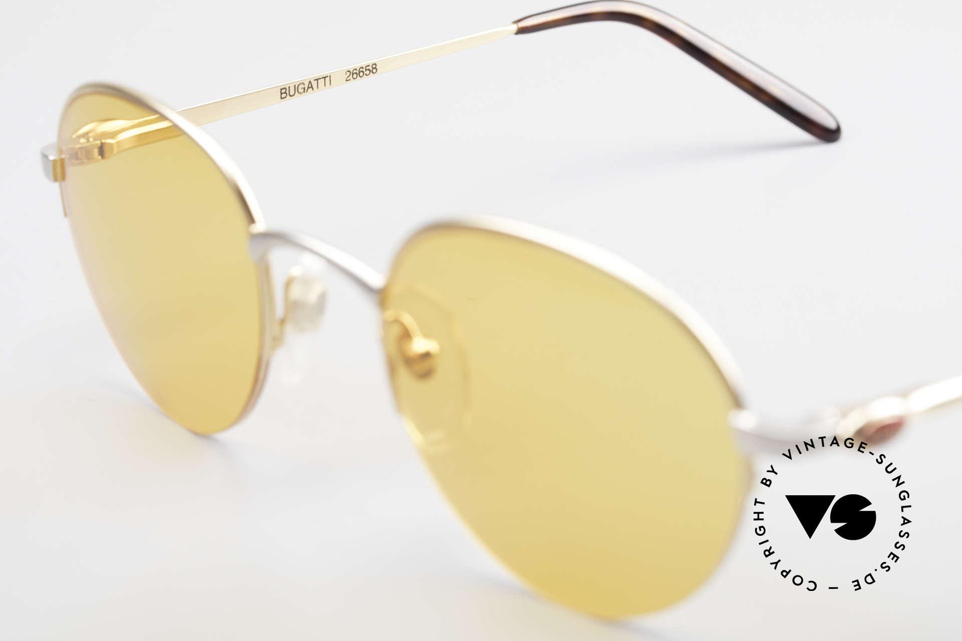 Bugatti 26658 Panto Designer Sonnenbrille, die orangen Sonnengläser sind ggf. austauschbar, Passend für Herren