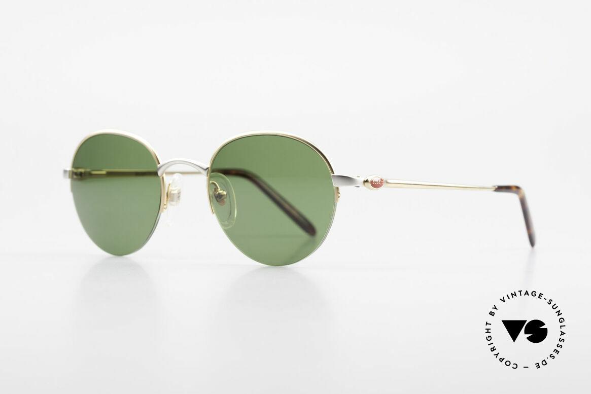 Bugatti 26658 Designer Panto Sonnenbrille, vergoldet/titanium mit flexiblen Federgelenken, Passend für Herren