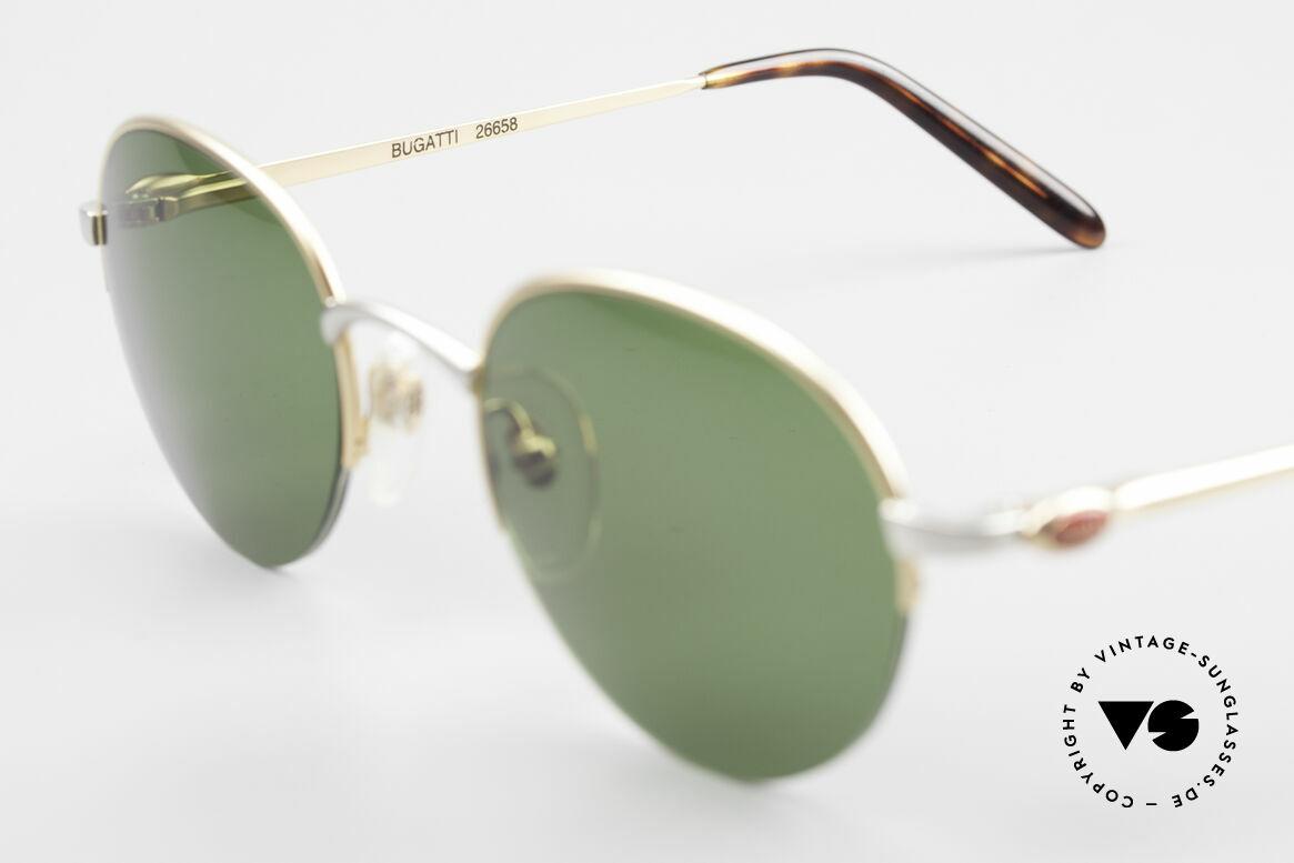Bugatti 26658 Designer Panto Sonnenbrille, gras-grünen Sonnengläser sind ggf. austauschbar, Passend für Herren