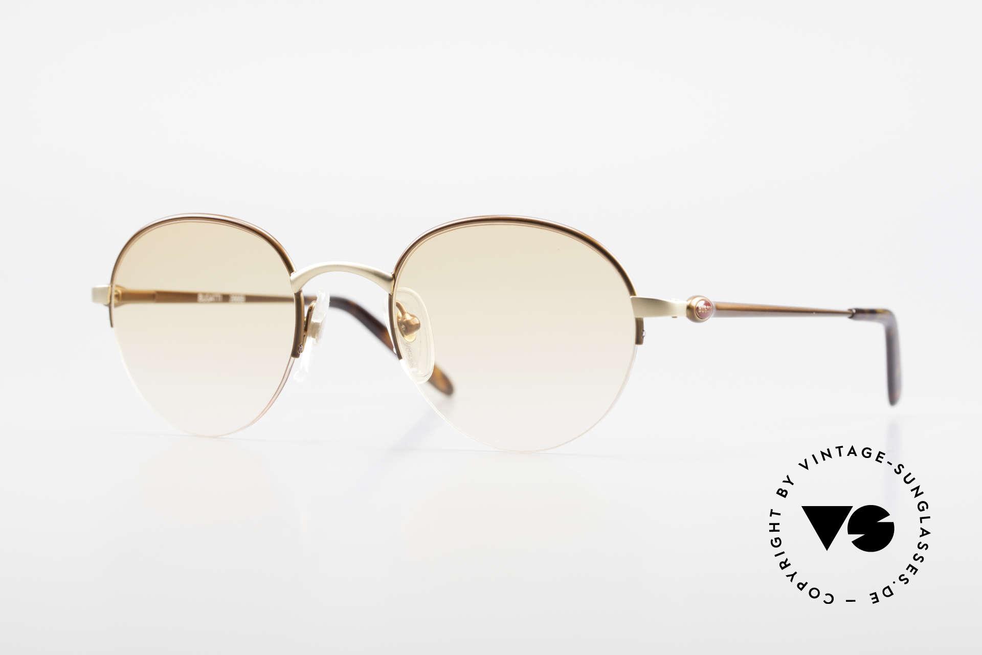 Bugatti 26669 Seltene Bugatti Panto Brille, seltene Bugatti Panto-Sonnenbrille; Gr. 49-21, Passend für Herren