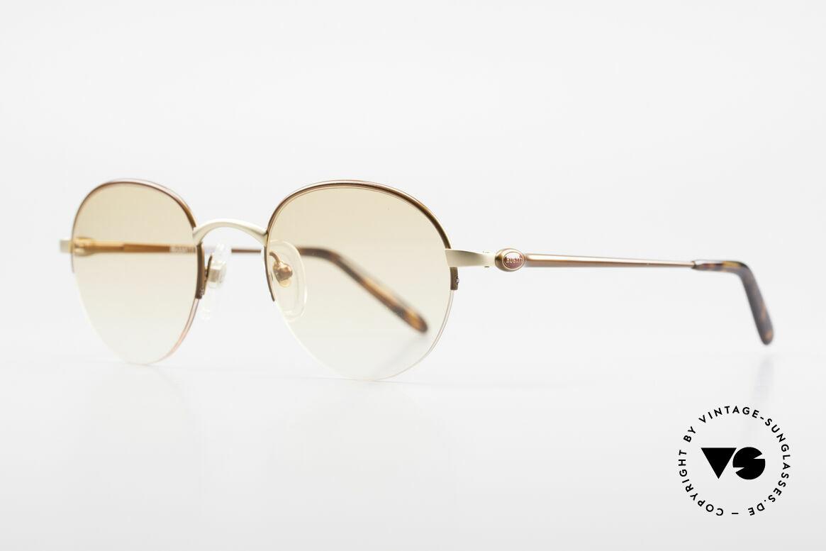 Bugatti 26669 Seltene Bugatti Panto Brille, mattgold/mattbraun und flexible Federgelenke, Passend für Herren