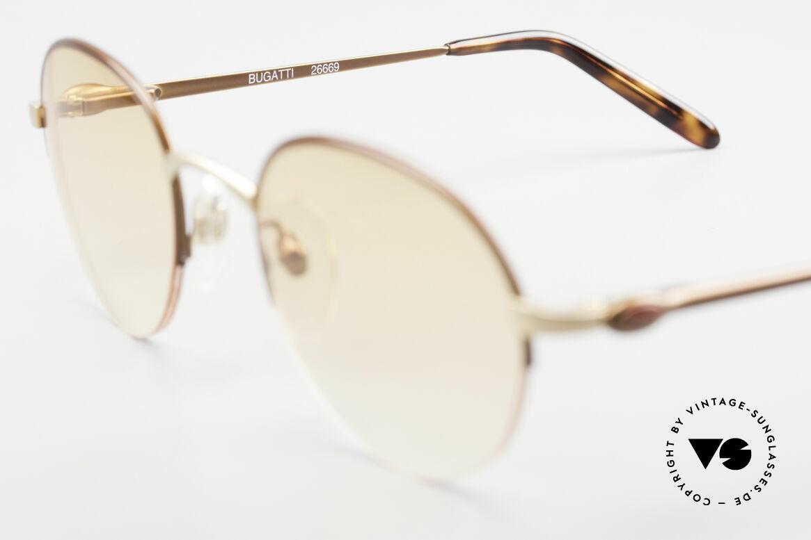 Bugatti 26669 Seltene Bugatti Panto Brille, Sonnengläser (orange-Verlauf) sind austauschbar, Passend für Herren
