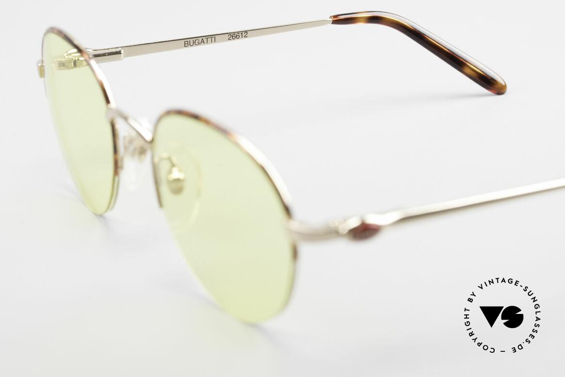 Bugatti 26612 Rare 90er Bugatti Panto Brille, Sonnengläser in gelb (sind auch abends tragbar), Passend für Herren