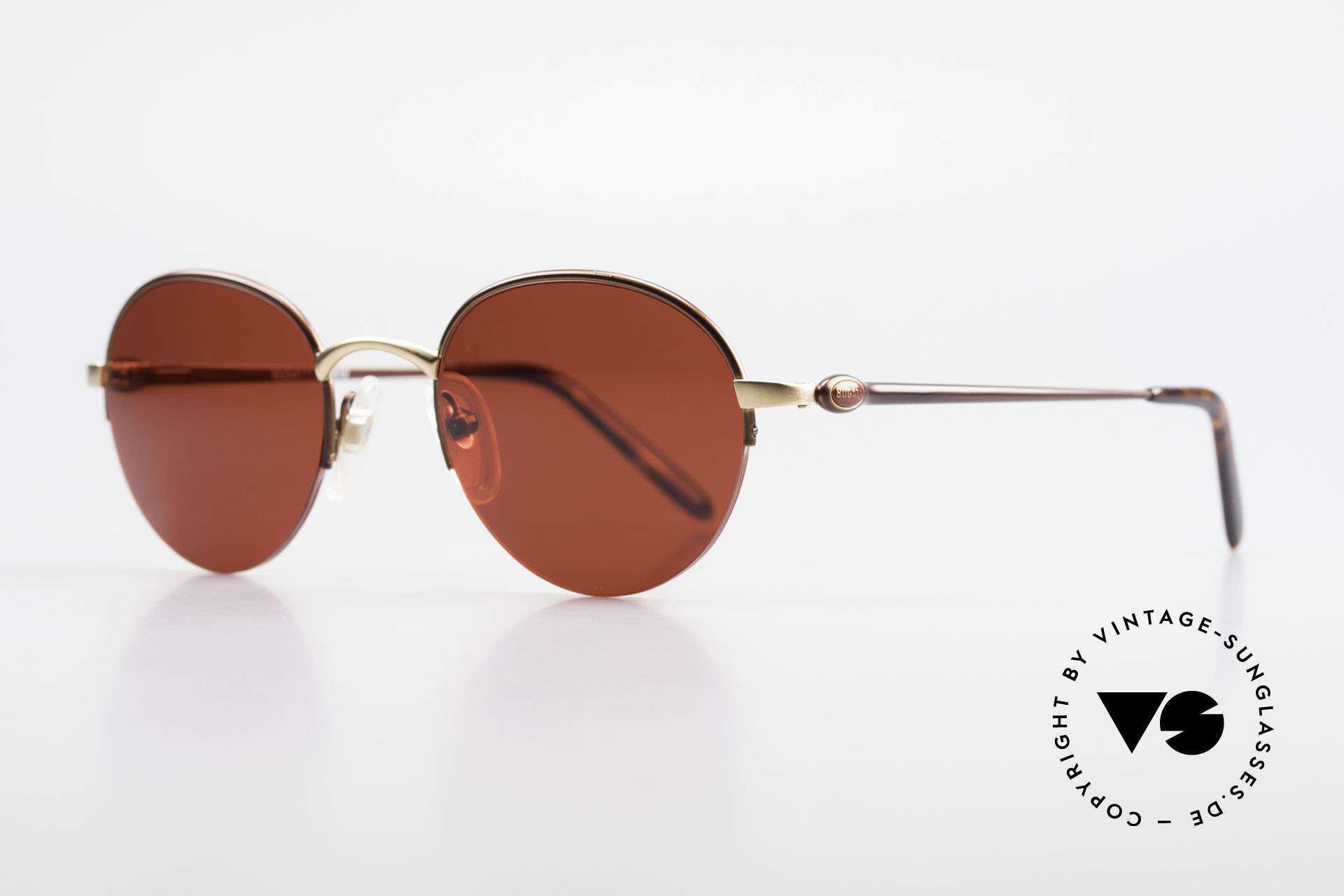 Bugatti 26619 Runde Bugatti Panto Brille, mattgold/mattbraun und flexible Federgelenke, Passend für Herren