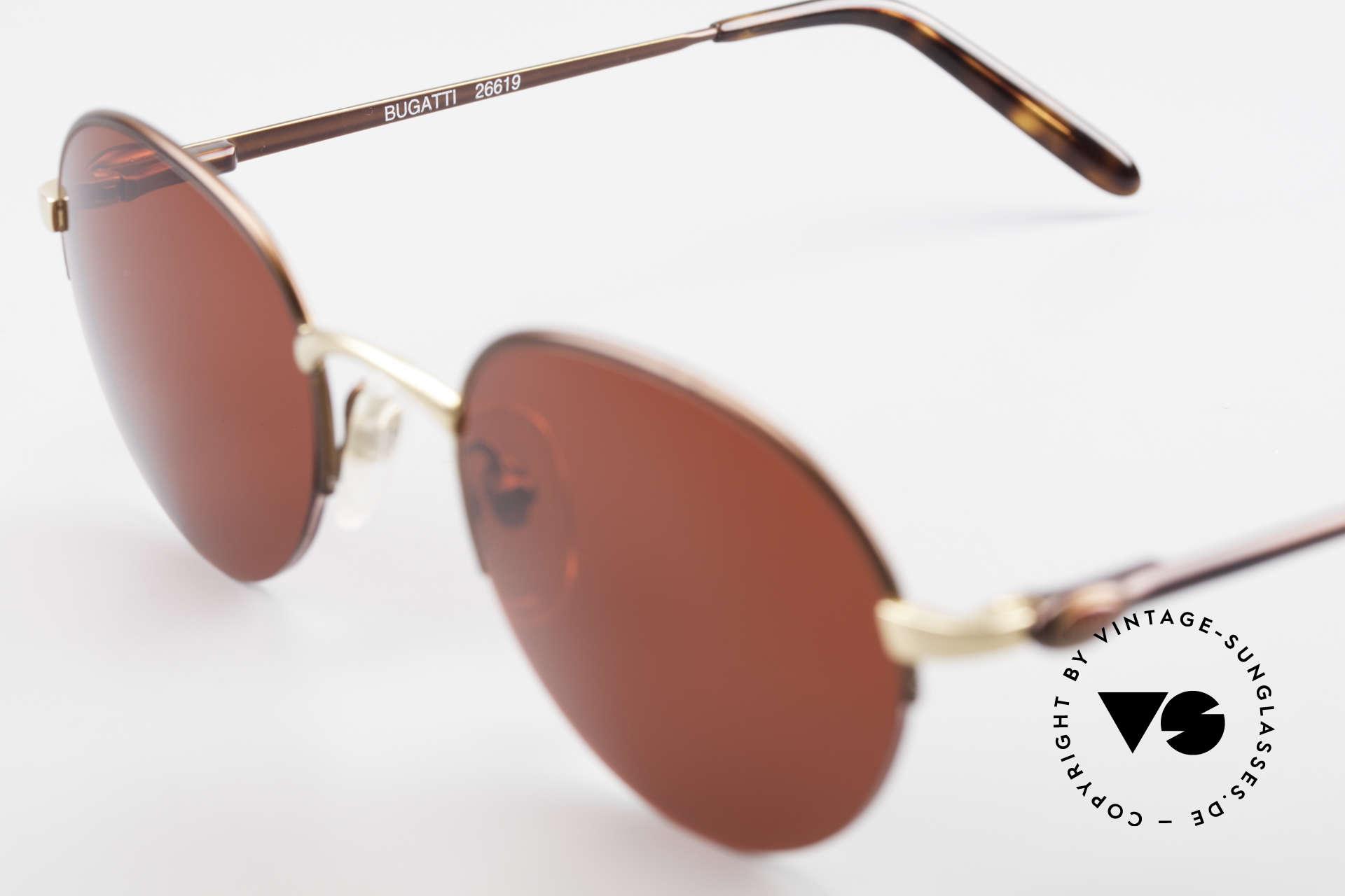 Bugatti 26619 Runde Bugatti Panto Brille, knalligen 3D-rot Sonnengläser sind austauschbar, Passend für Herren