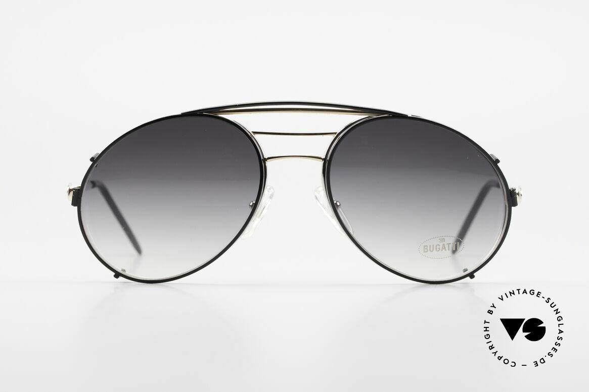 Bugatti 65536 Vintage Brille mit Sonnen Clip, klassische BUGATTI Fassung von circa 1985/86, Passend für Herren