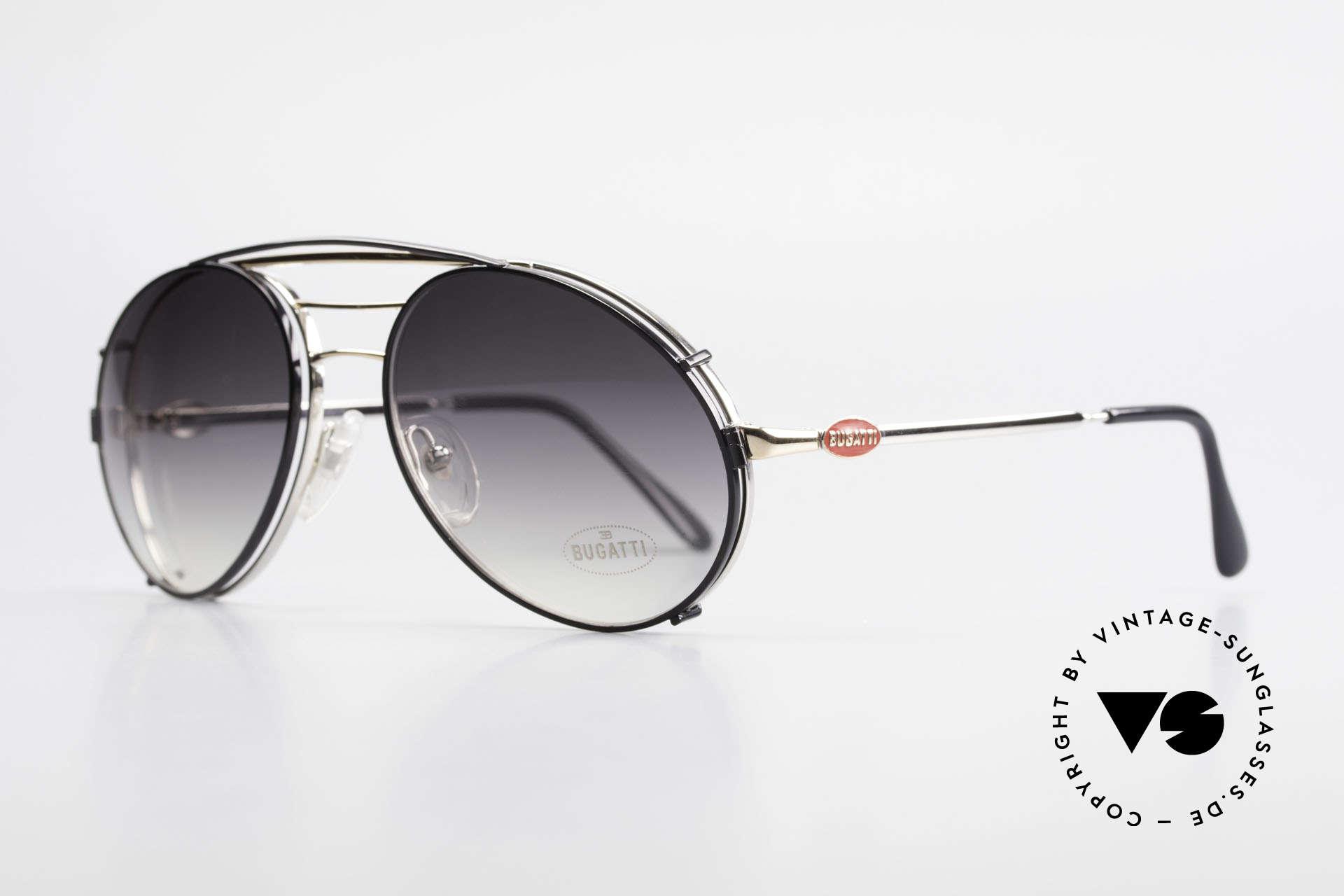 Bugatti 65536 Vintage Brille mit Sonnen Clip, VINTAGE Gestell mit praktischem Sonnen-Clip, Passend für Herren