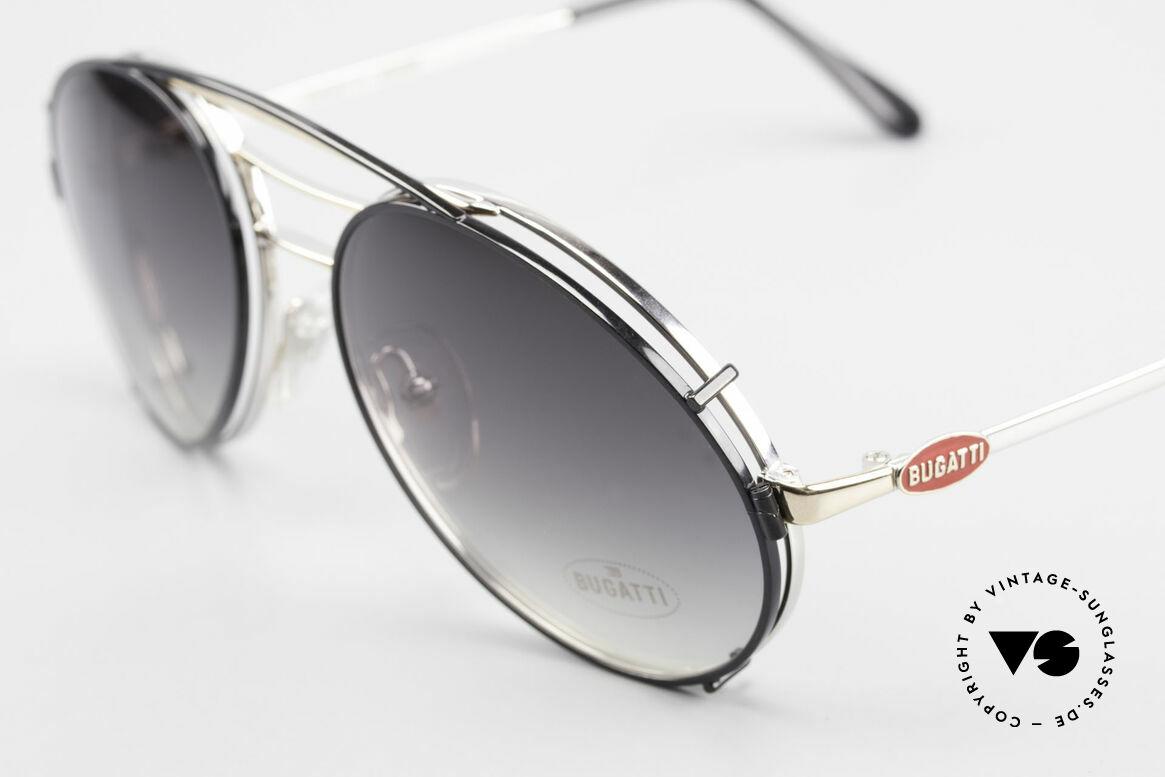 Bugatti 65536 Vintage Brille mit Sonnen Clip, LARGE Fassung, elegant in silber-gold / schwarz, Passend für Herren