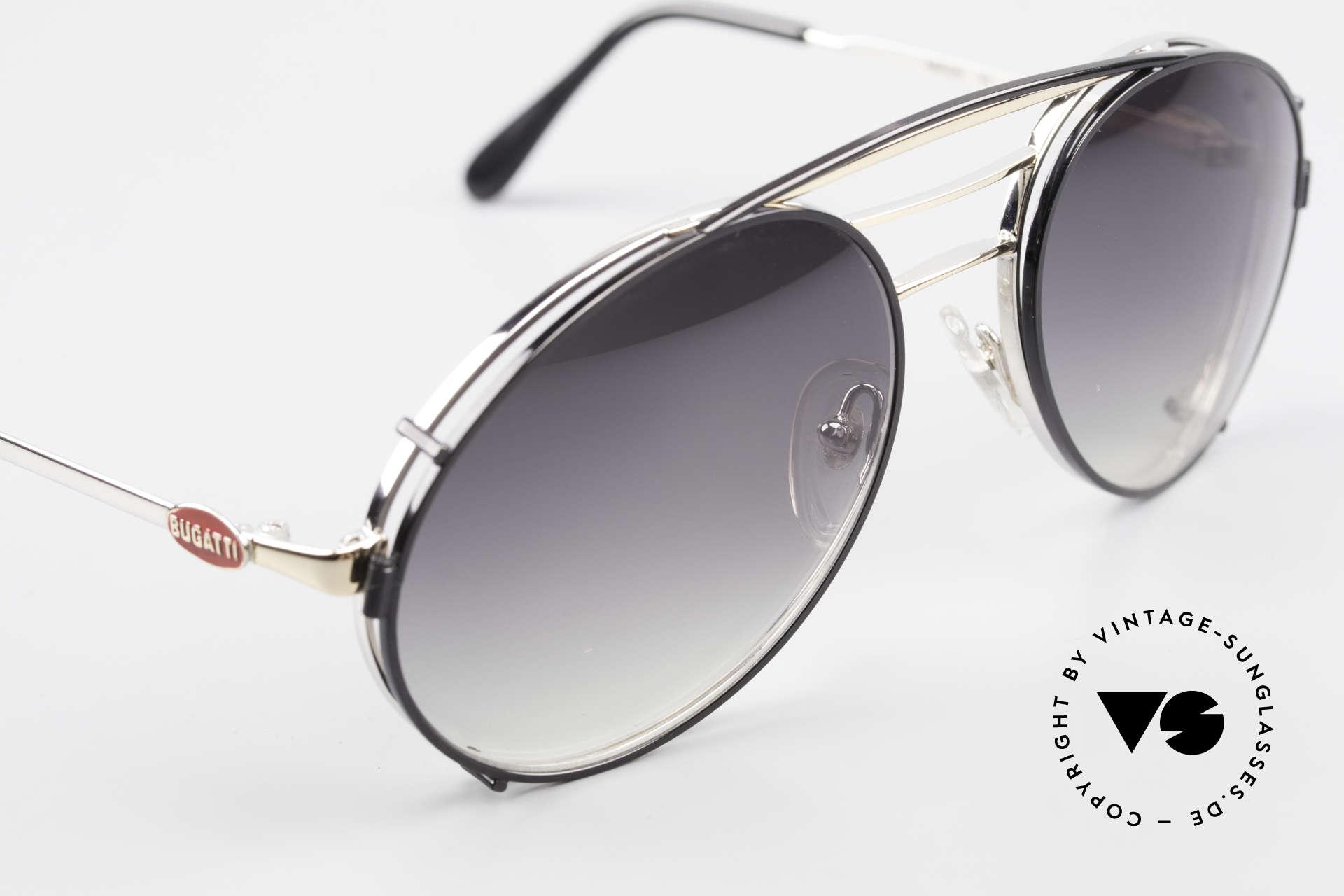 Bugatti 65536 Vintage Brille mit Sonnen Clip, ungetragen (wie alle unsere vintage BUGATTIS), Passend für Herren