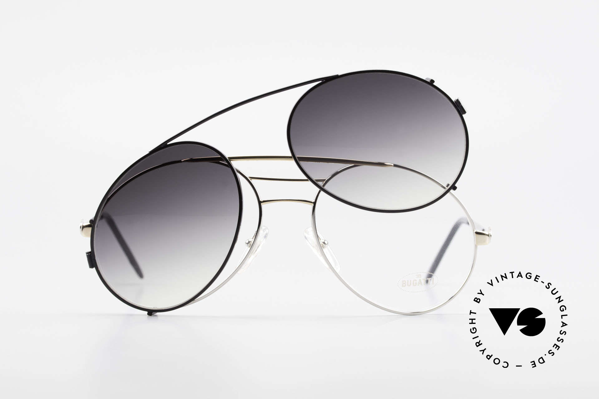 Bugatti 65536 Vintage Brille mit Sonnen Clip, Größe: large, Passend für Herren