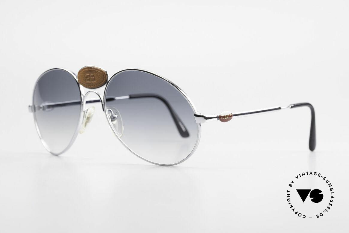 Bugatti 64745 Seltene Sammlersonnenbrille, einzigartiger Rahmen mit markantem Bugatti-Leder-Logo, Passend für Herren