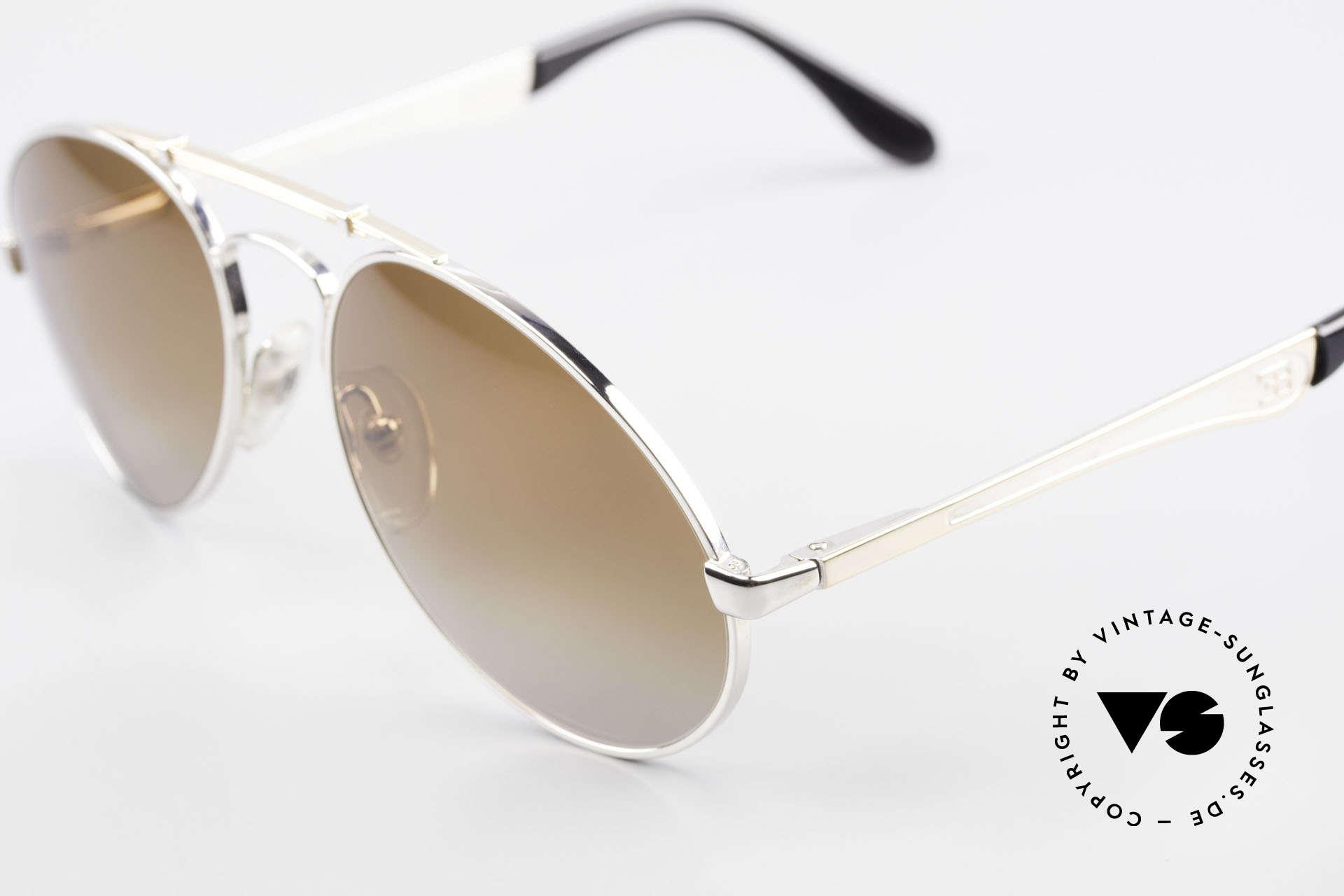 Bugatti 11909 80er Luxus Sonnenbrille Herren, Rahmen silber/gold; Brücke wie eine Blattfeder, Passend für Herren
