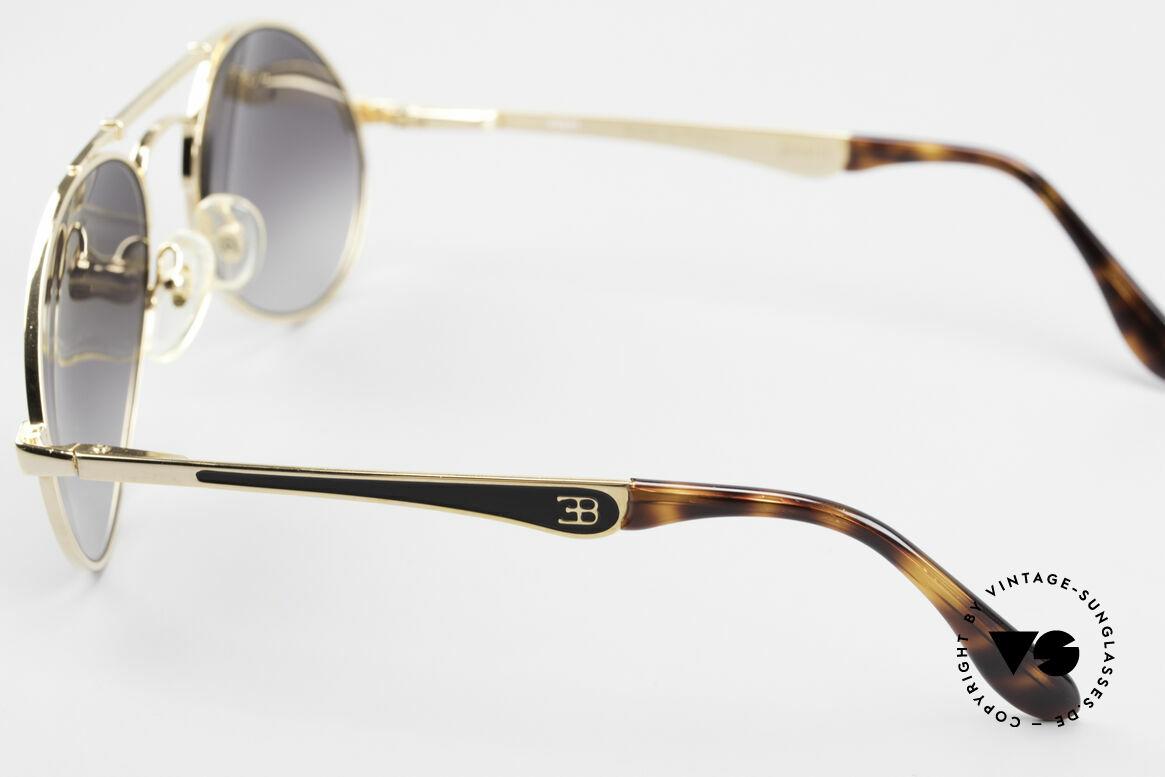 Bugatti 11911 80er Herren Luxus Sonnenbrille, vergoldeter Rahmen; Brücke wie eine Blattfeder, Passend für Herren