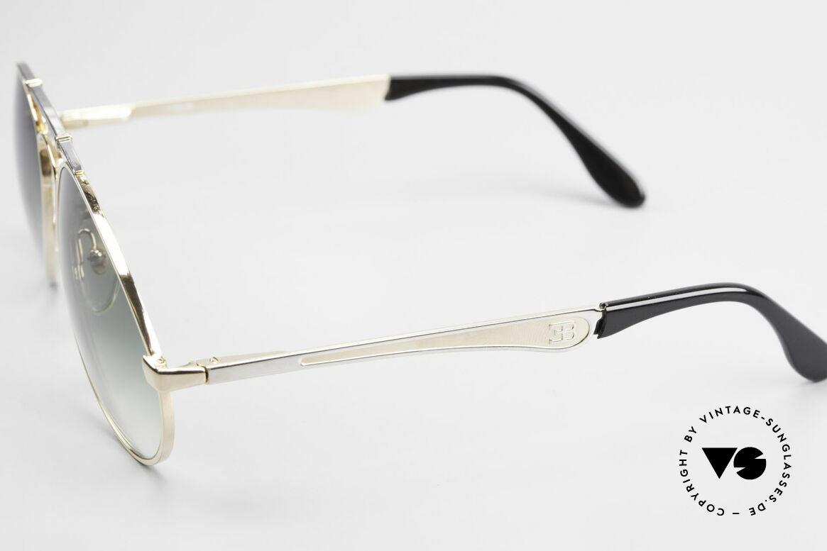 Bugatti 11908 Large 80er Luxus Sonnenbrille, Rahmen gold/silber; Brücke wie eine Blattfeder, Passend für Herren