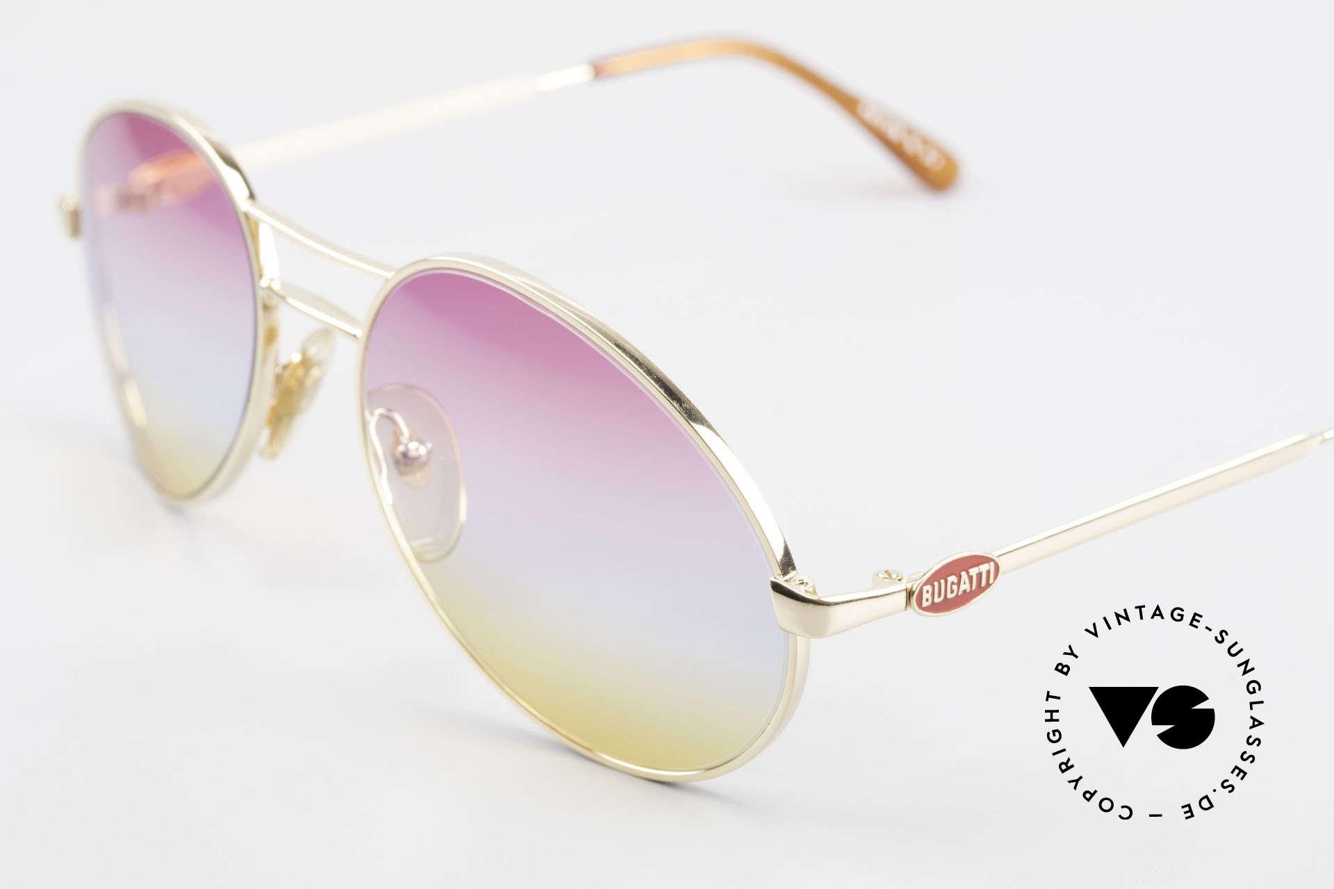 Bugatti 64335 Außergewöhnliche 80er Brille, originelle Gläser in 3fach Verlauf (Sunrise), Passend für Herren