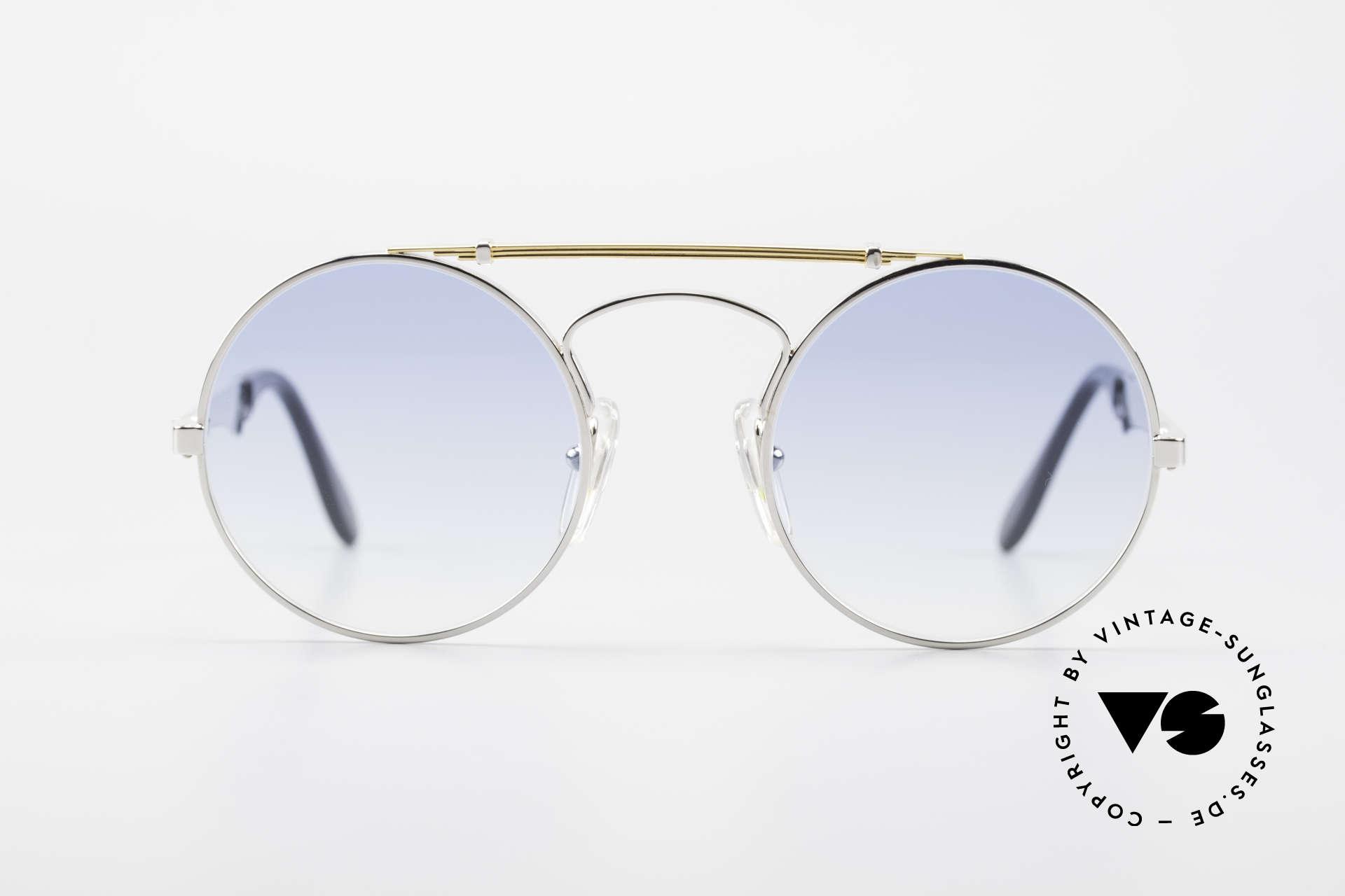 Bugatti 11709 80er Luxus Sonnenbrille Rund, sehr kostbares LUXUSmodell mit Feder-Scharnieren, Passend für Herren