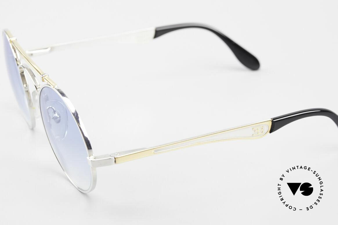 Bugatti 11709 80er Luxus Sonnenbrille Rund, edler Rahmen gold/silber; Brücke wie eine Blattfeder, Passend für Herren