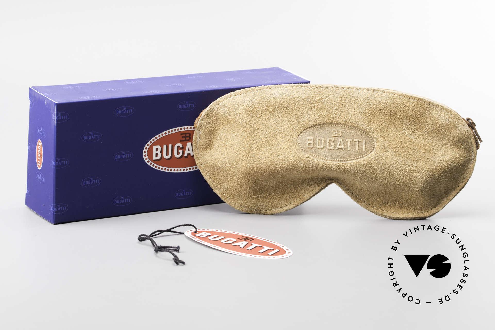 Bugatti 11709 80er Luxus Sonnenbrille Rund, Größe: small, Passend für Herren