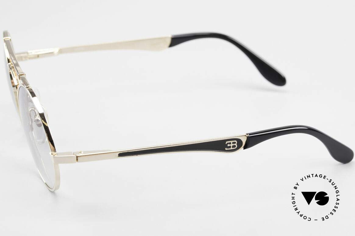 Bugatti 11711 Small Luxus Sonnenbrille Rund, edler Rahmen gold/schwarz; Brücke wie eine Blattfeder, Passend für Herren