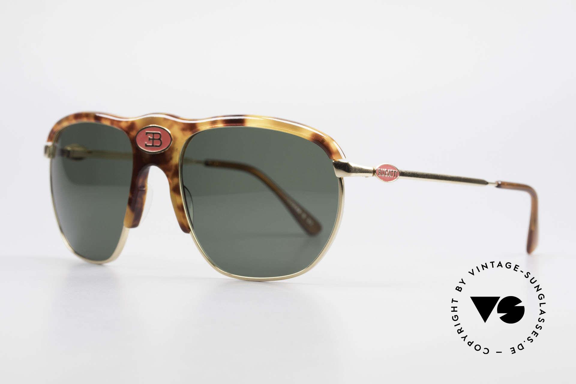 Bugatti 65218 Seltene Alte 70er Bugatti Brille, LARGE Fassung (58mm) mit zentralem Bugatti-Logo, Passend für Herren