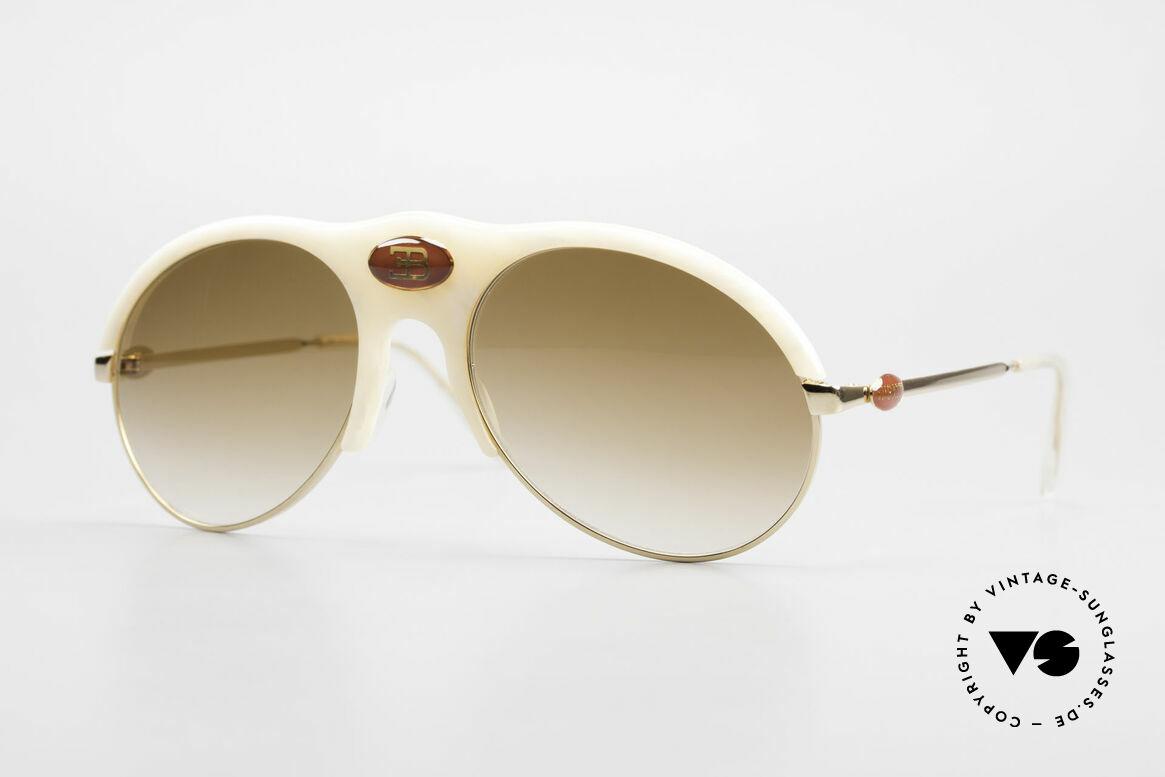 Bugatti 64748 Elfenbein Optik 70er Brille, sehr, sehr edle Bugatti vintage Luxus-Sonnenbrille, Passend für Herren