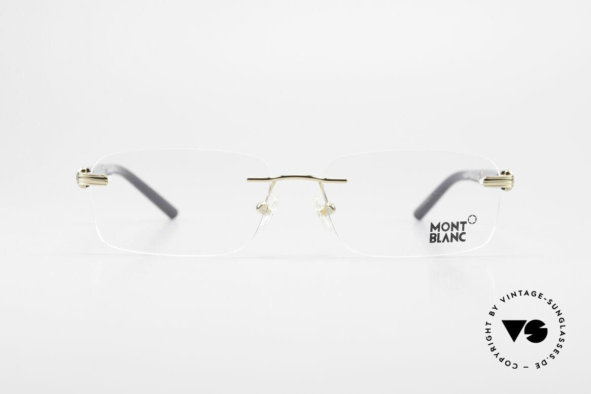 Montblanc MB337 Randlosbrille Vergoldet Luxus, charakteristisches Mont Blanc Design in schwarz-gold, Passend für Herren