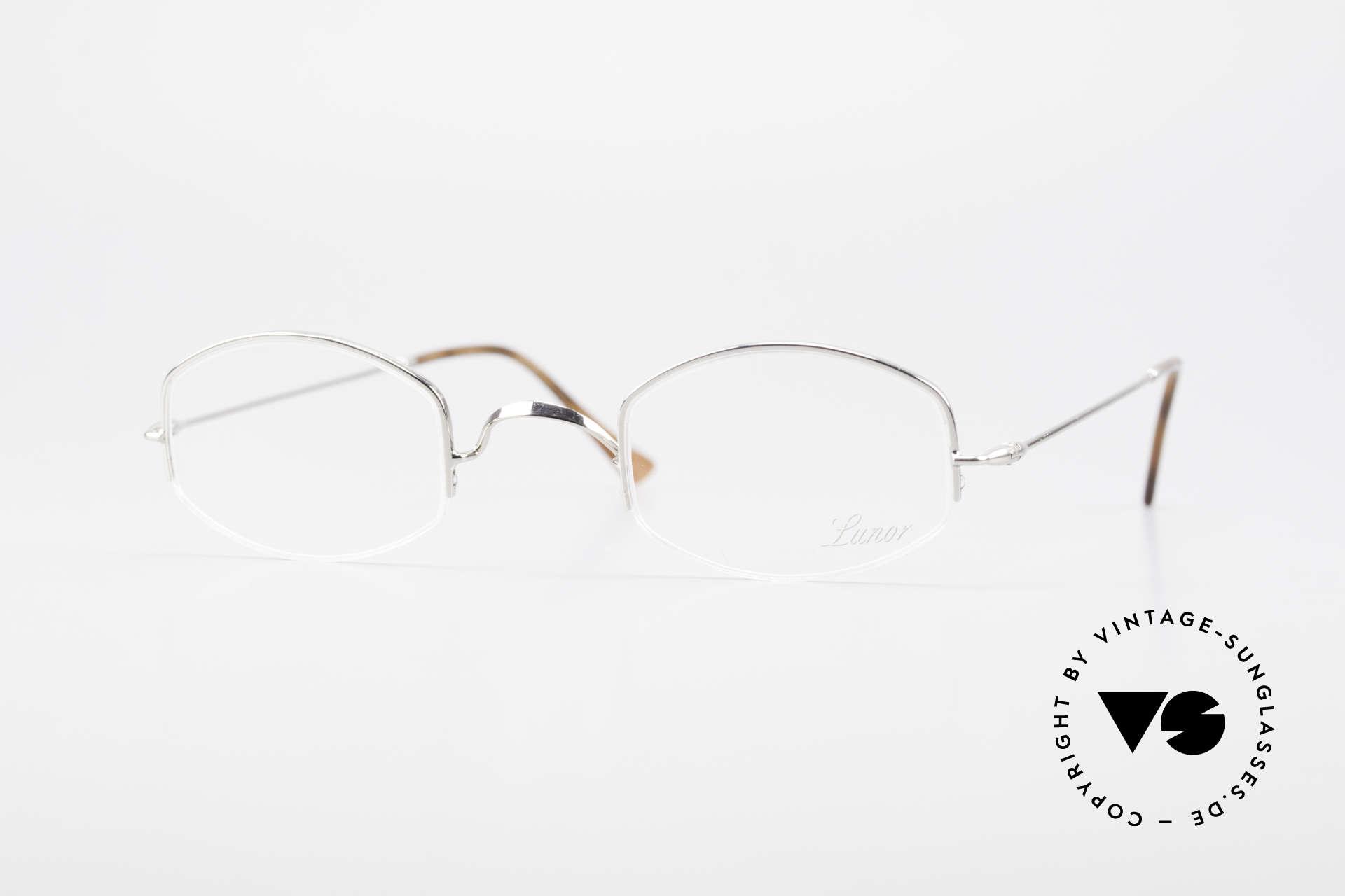 """Lunor Classic Halb Randlose Vintage Brille, LUNOR = französisch für """"Lunette d'Or"""" (Goldbrille), Passend für Herren und Damen"""