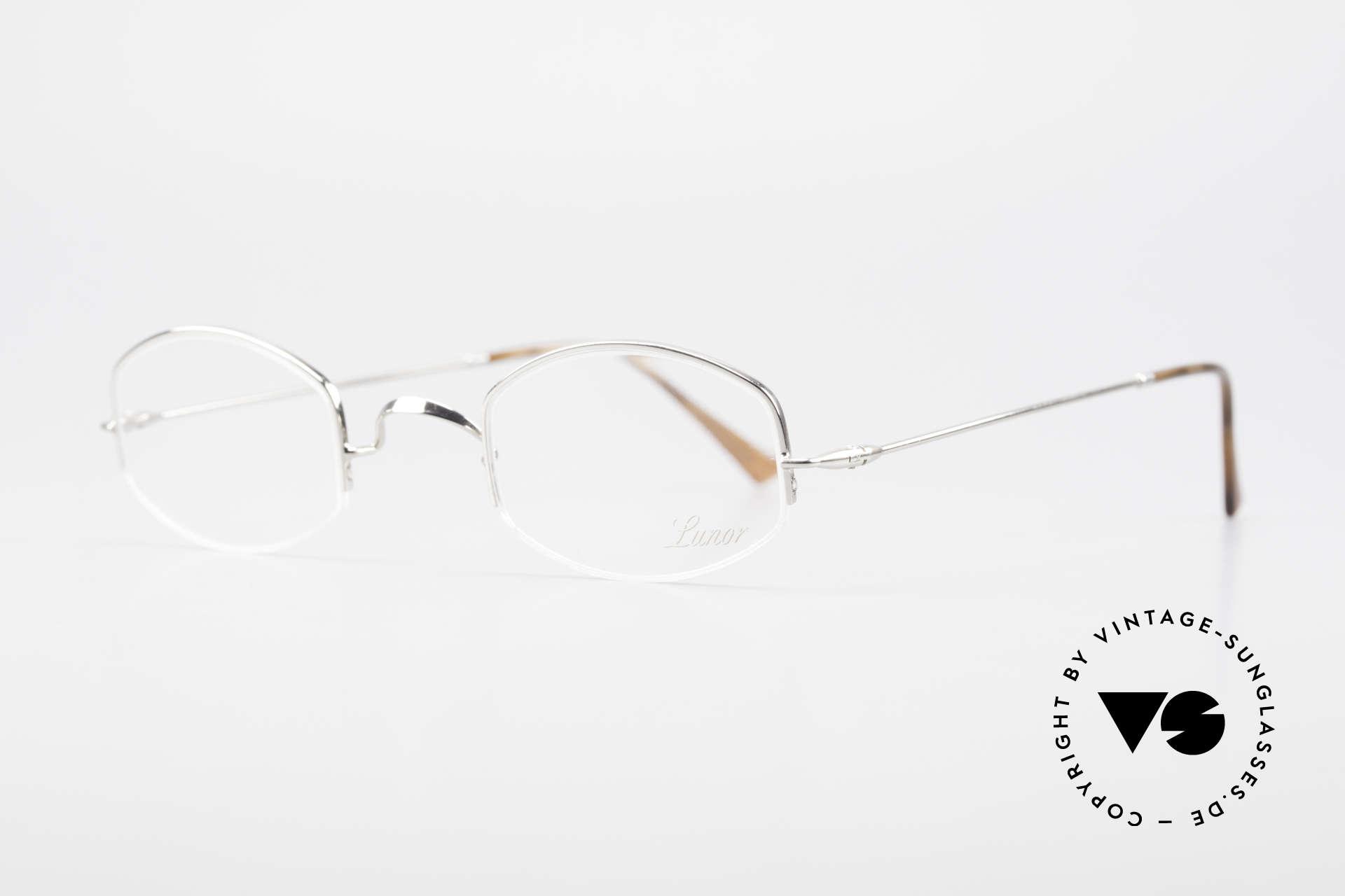 Lunor Classic Halb Randlose Vintage Brille, Brillendesign in Anlehnung an frühere Jahrhunderte, Passend für Herren und Damen