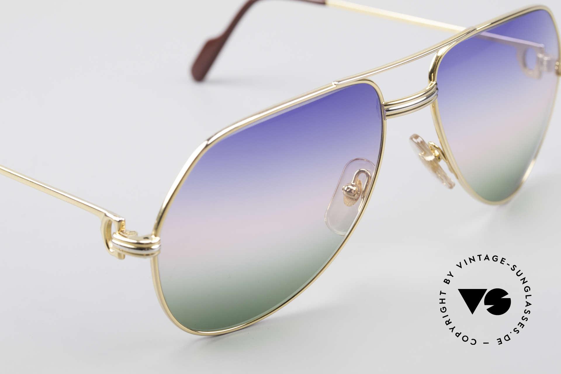 Cartier Vendome LC - M Michael Douglas Sonnenbrille, Luxus-Fassung (22kt) mit neuen tricolor Sonnengläsern, Passend für Herren