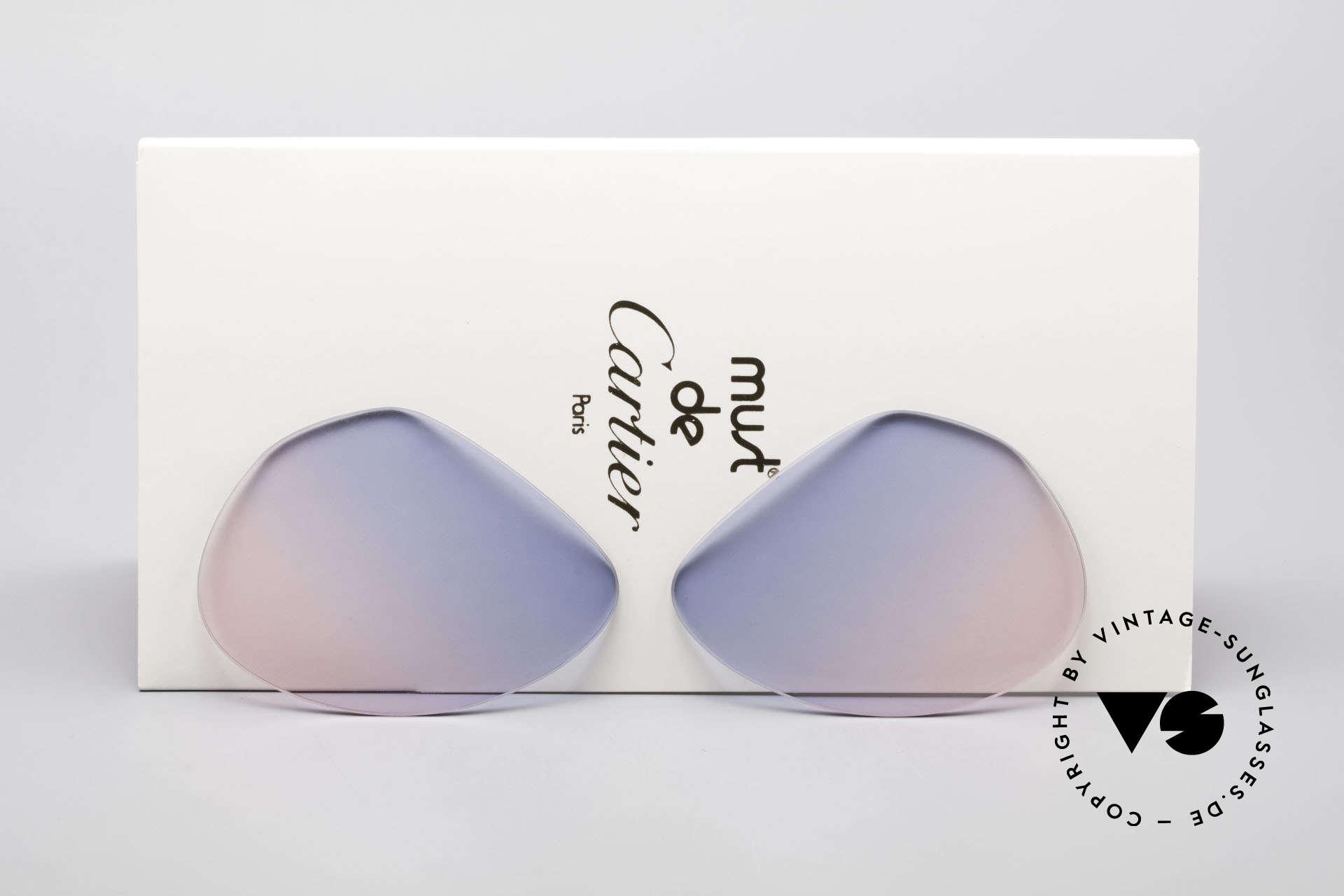 Cartier Vendome Lenses - M Sonnenglas Blau Pink Verlauf, Ersatzgläser für Cartier Modell Vendome MEDIUM 59mm, Passend für Herren