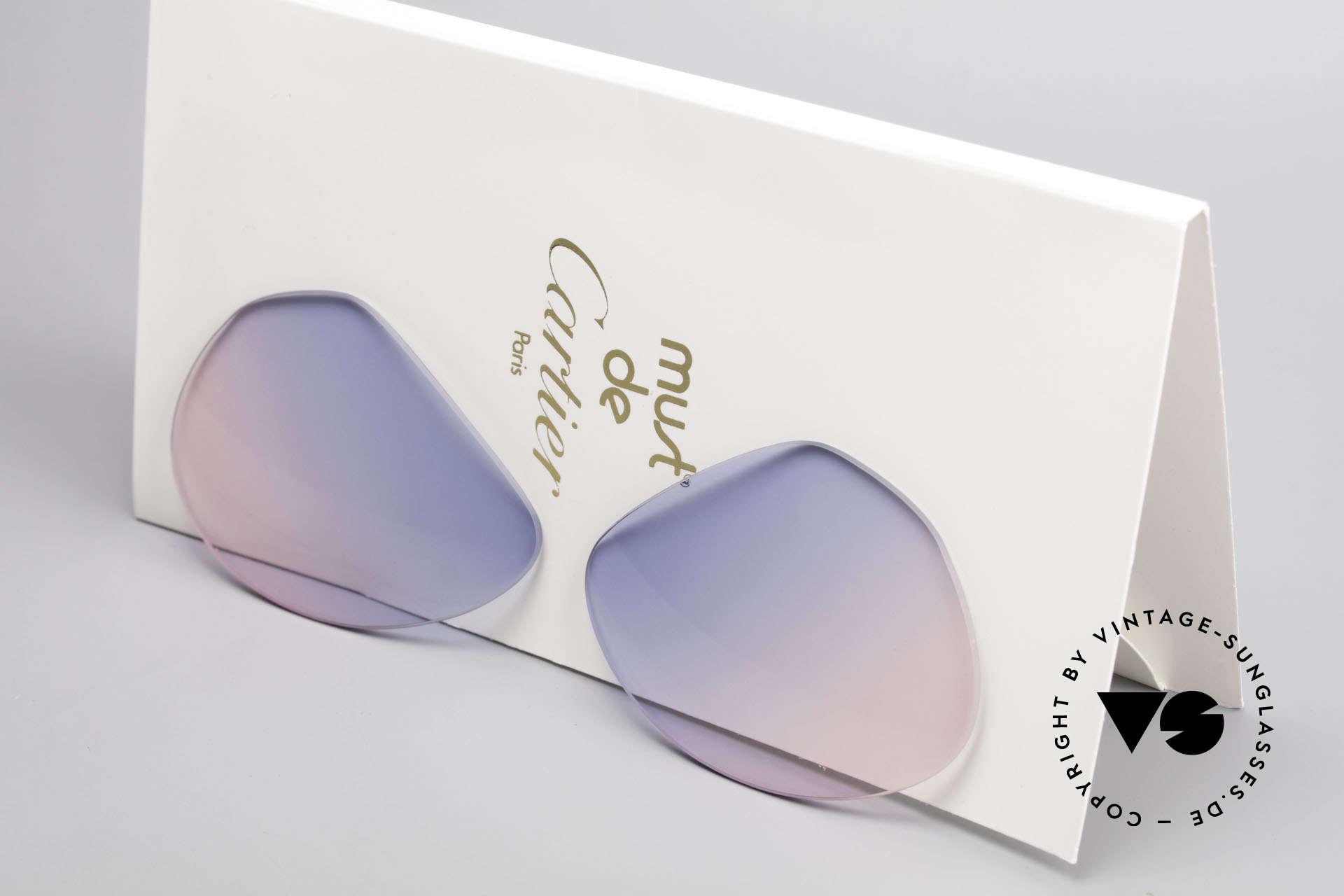 Cartier Vendome Lenses - M Sonnenglas Blau Pink Verlauf, neue CR39 UV400 Kunststoff-Gläser (100% UV Schutz), Passend für Herren