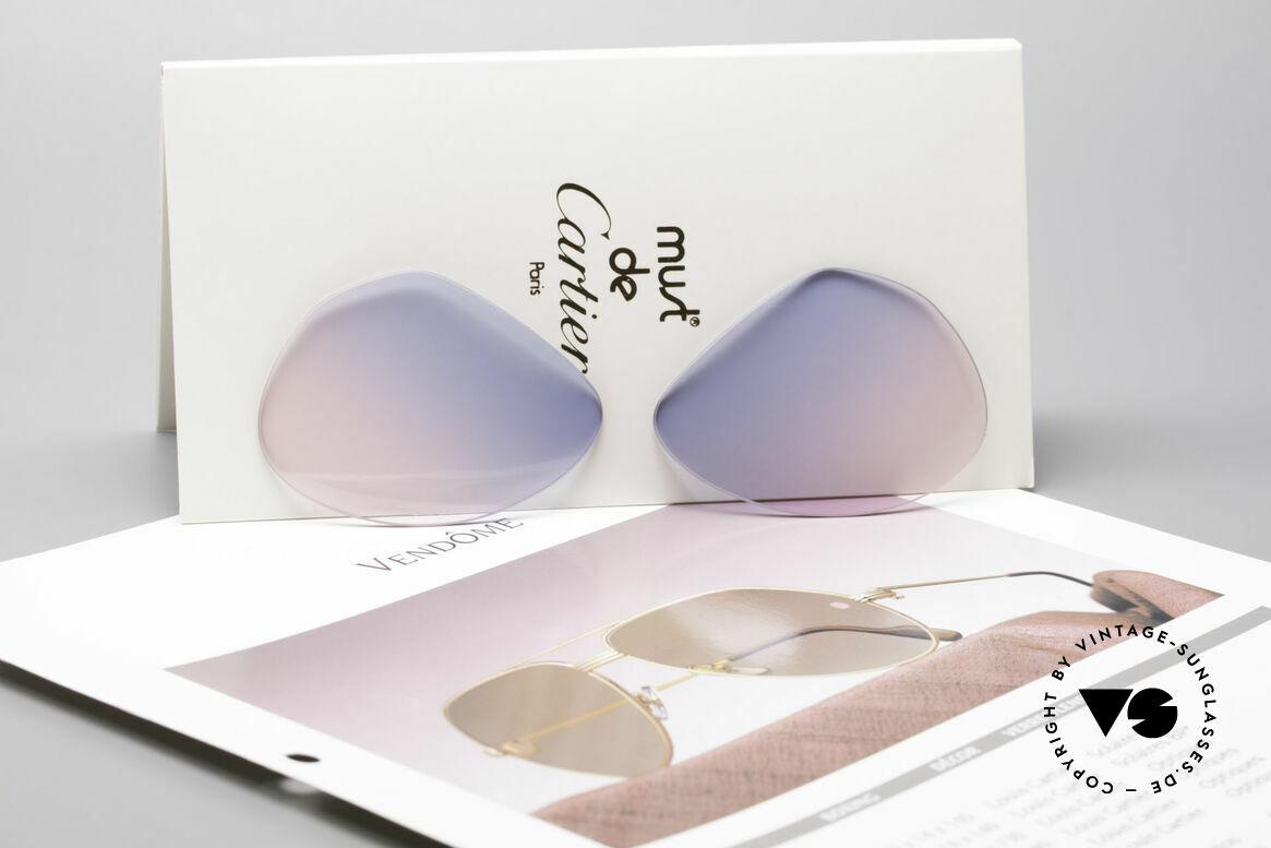 Cartier Vendome Lenses - M Sonnenglas Blau Pink Verlauf, origineller Farbverlauf von (Baby)-Himmelblau zu Pink, Passend für Herren