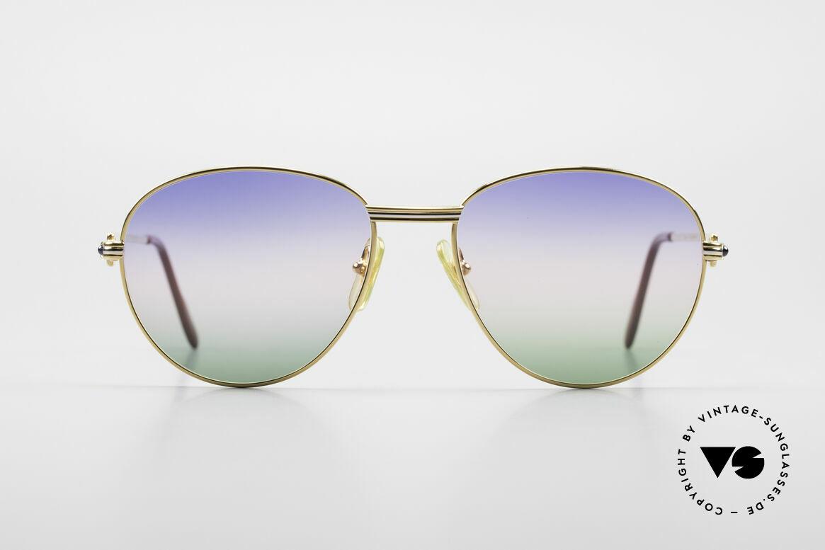 Cartier S Saphirs 0,94 ct Edelstein Sonnenbrille Panto, Panto Cartier Luxus-Sonnenbrille in LARGE 57°18, Passend für Herren und Damen